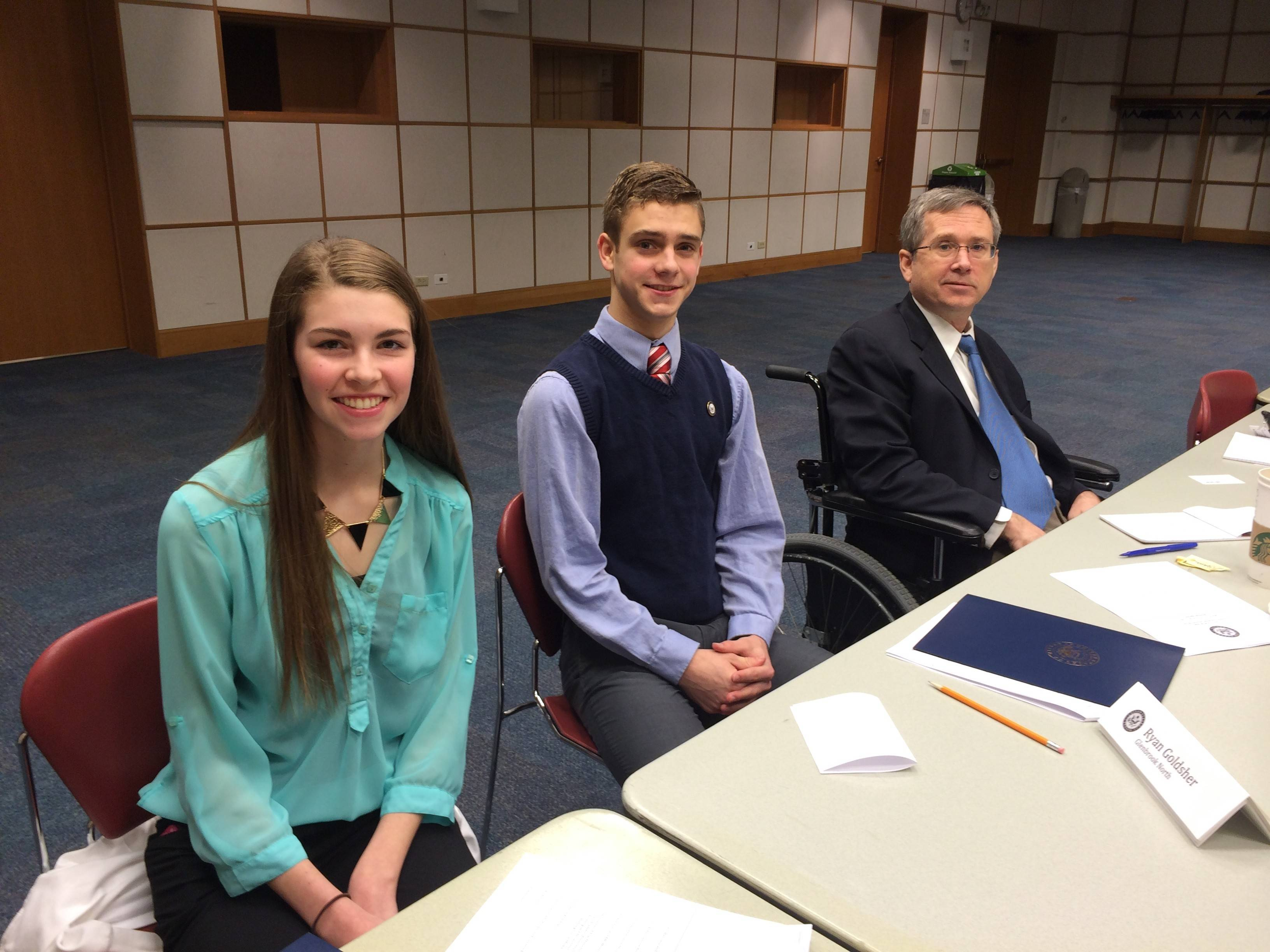 Sen. Mark Kirk, right, meets Saturday with Colleen Keefe of Mount Prospect and Wheeling High School, and Ryan Goldsher of Northbrook and Glenbard West High School, to discuss issues facing teens at the Arlington Heights Memorial Library.