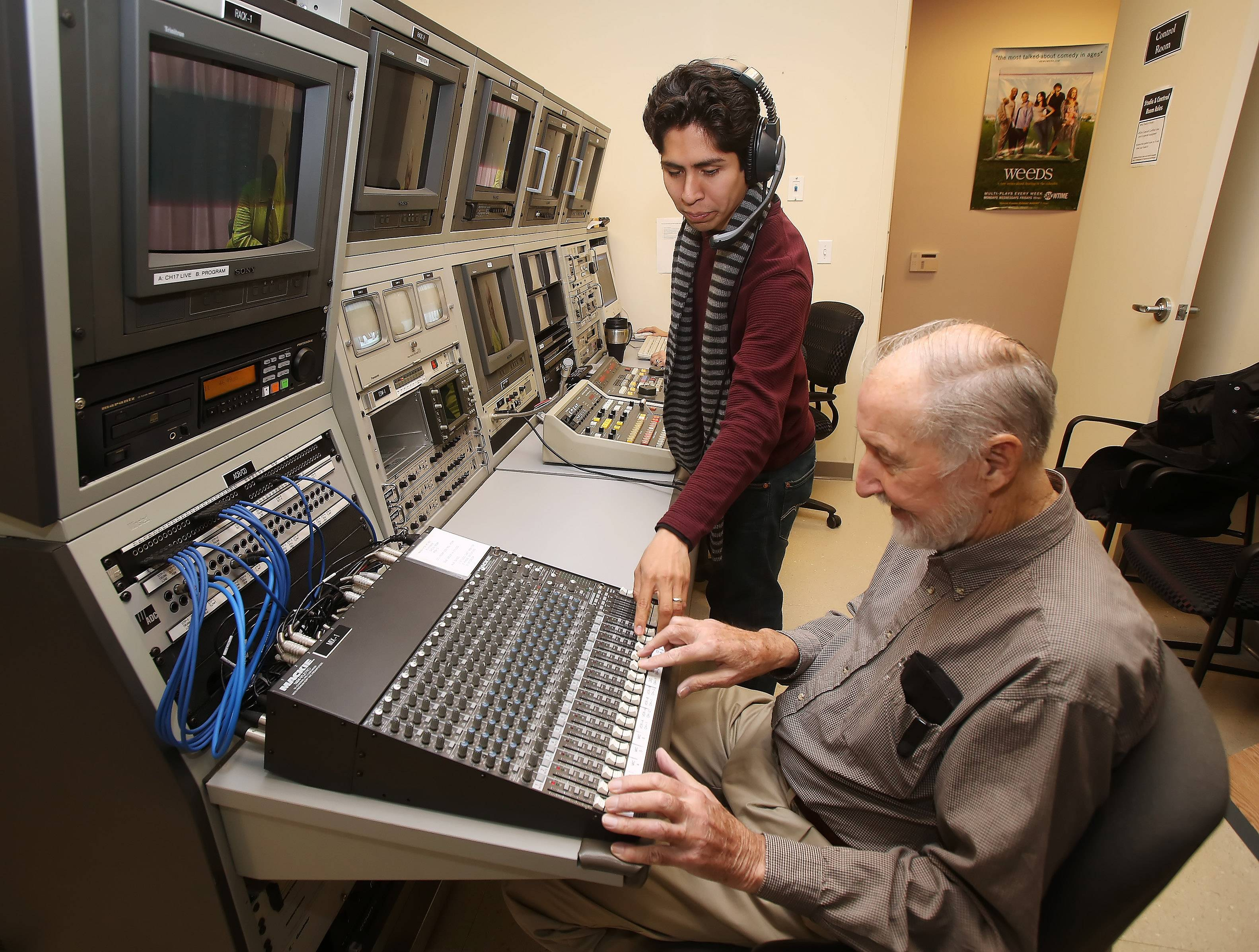 "Director Berto Garcia, and Arthur Kick on the soundboard, work behind the scenes to give ""Senior Issues"" a professional look."