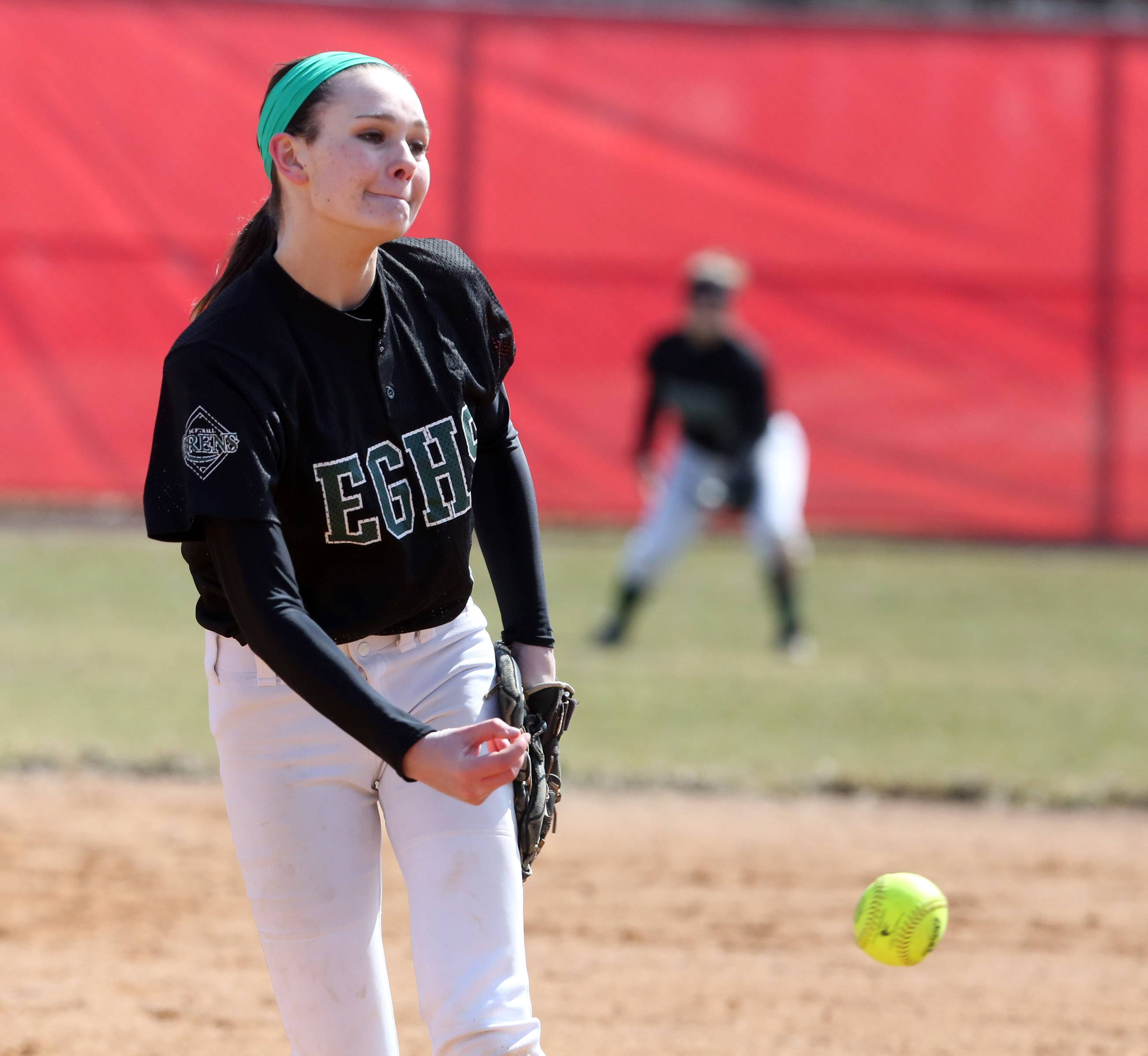 Elk Grove pitcher Megan Eul facing Mundelein at the Fields of Dreams on Saturday in Barrington
