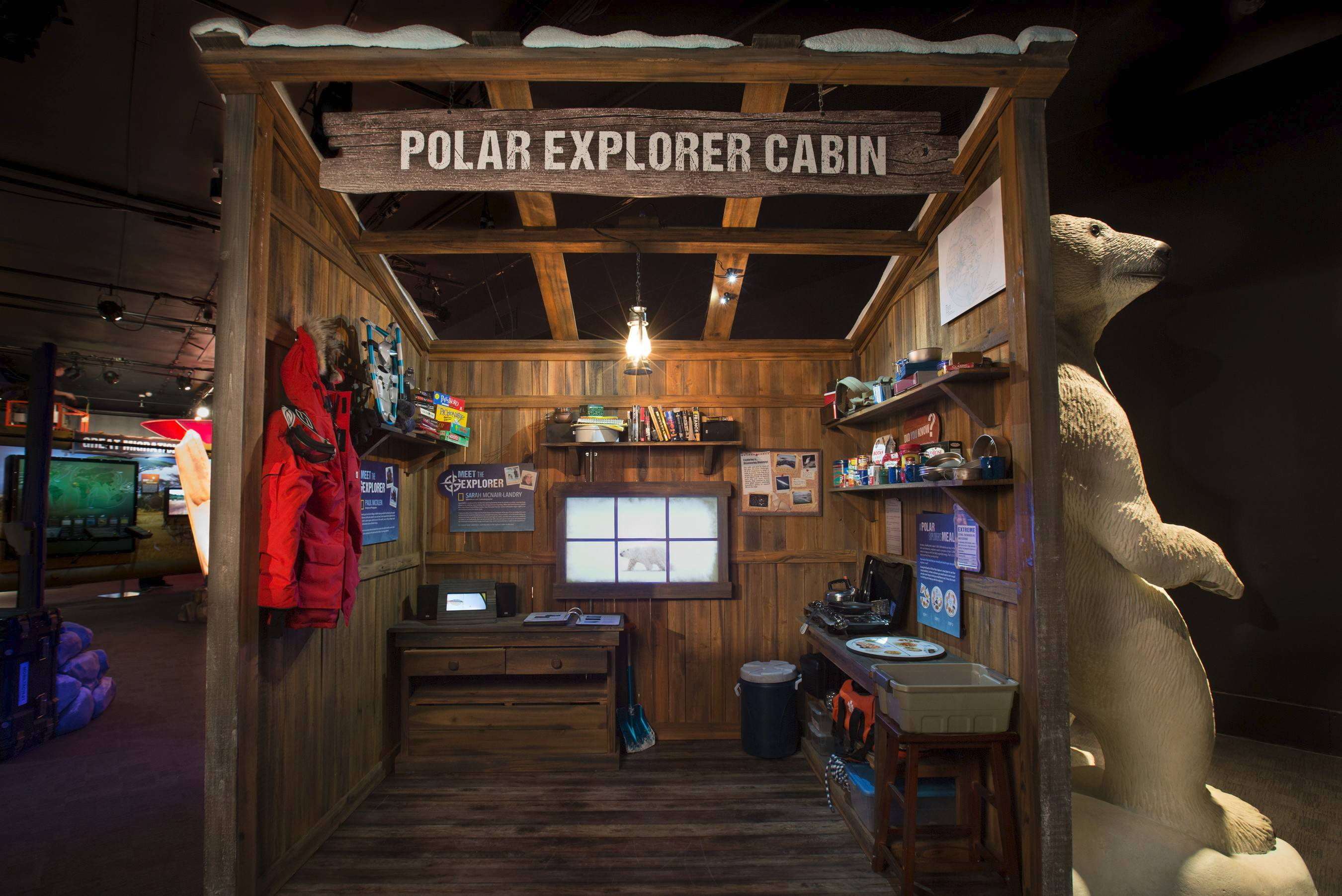 """National Geographic Presents: Earth Explorers"" takes museum visitors to remote corners of the globe. An Arctic cabin teaches guests about surviving in brutally cold climates."