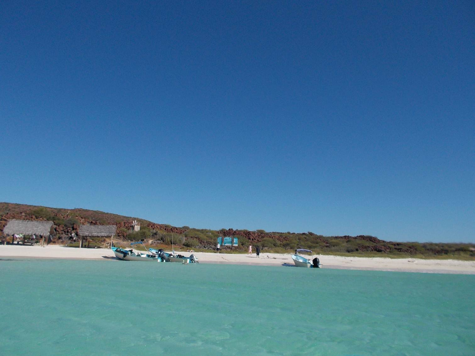 The white sand beach on Coronado Island in Loreto Bay National Marine Park in Loreto, Mexico, looks inviting.