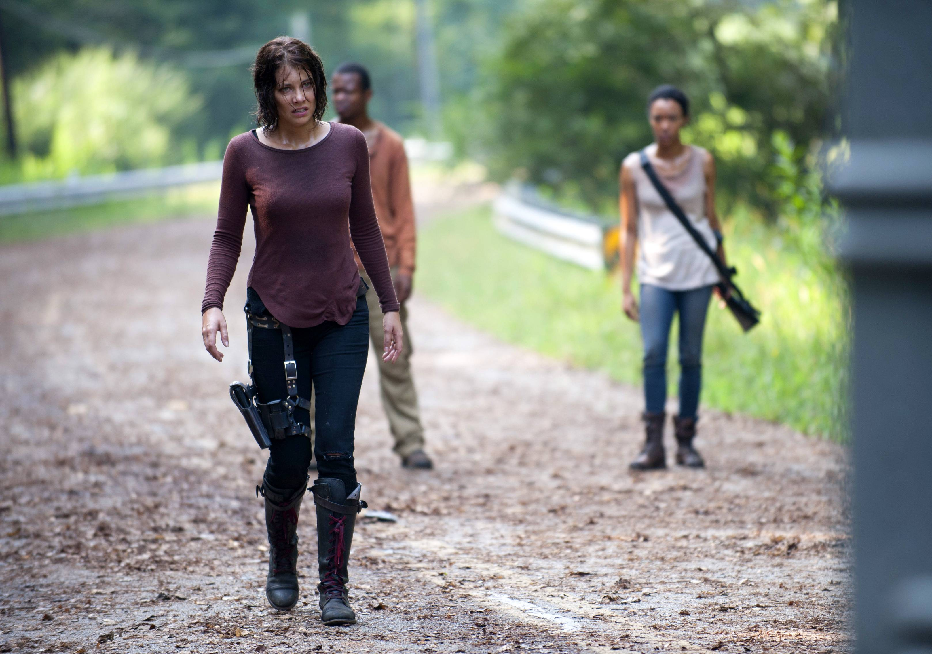 "Lauren Cohan, left, plays Maggie Greene in AMC's ""The Walking Dead."" Cohan says being on the series for three seasons has changed her temperament after being immersed in dark material."