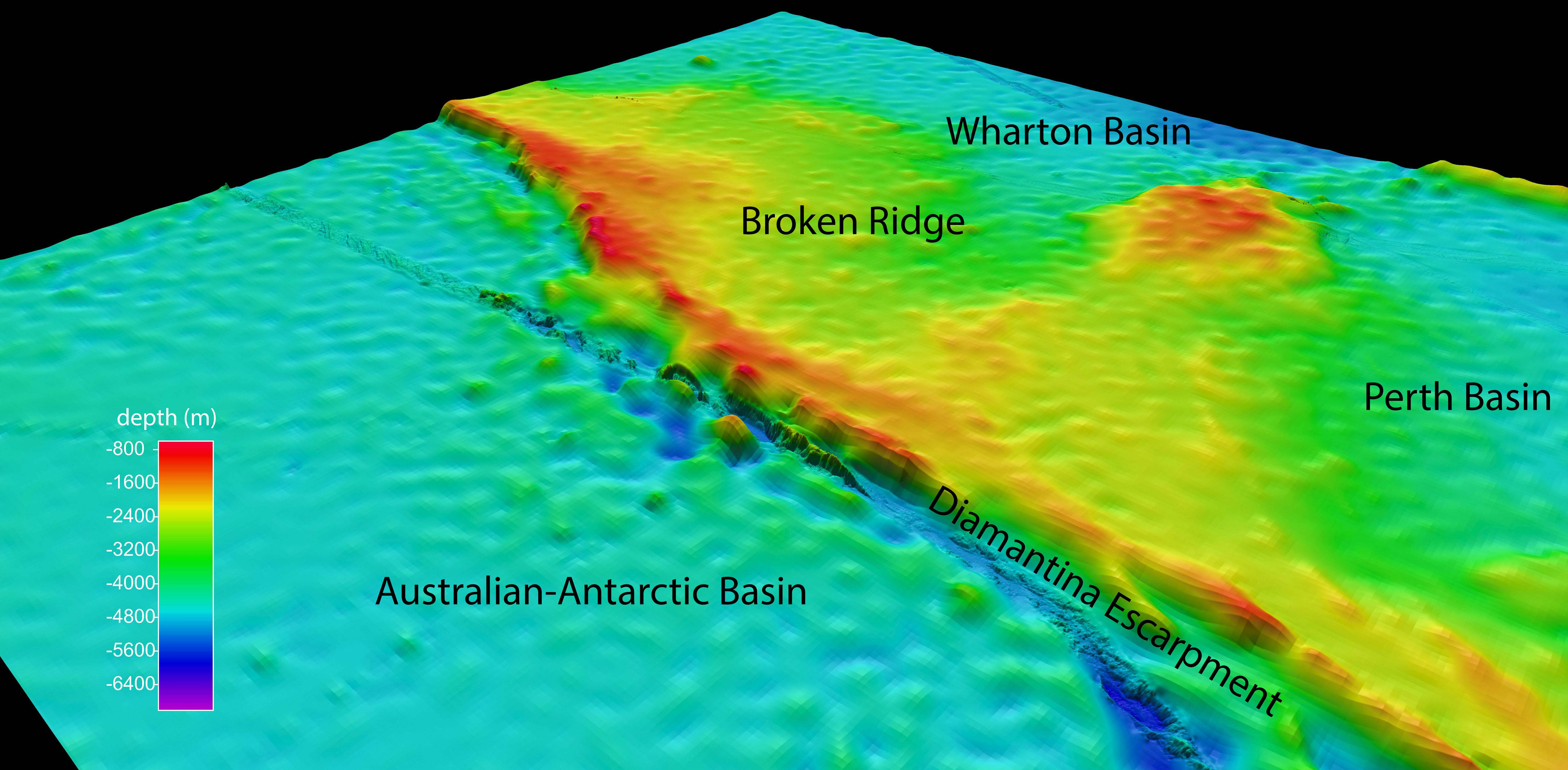 This graphic shows a view of the search area for the missing Malaysian Airlines Flight 370 at Broken Ridge, southeastern Indian Ocean, which shows the Diamantina Escarpment dropping from about 800 yards to over 5,000 yeards in depth.