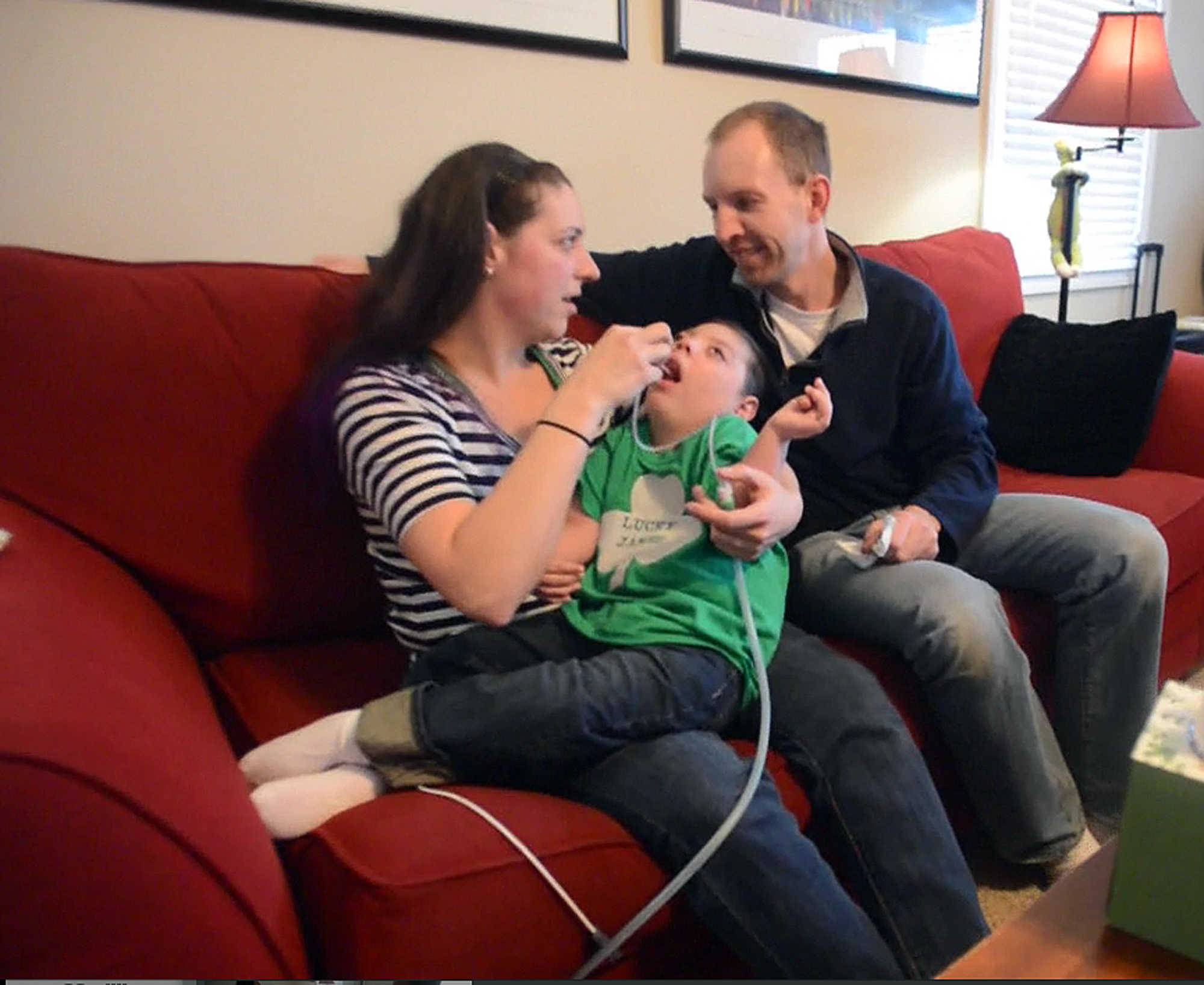 James Fulkerson can't swallow. So Stacy and Jeff Fulkerson use a plastic tube to suction fluids from the 4-year-old's throat and nose as frequently as 20 times an hour.