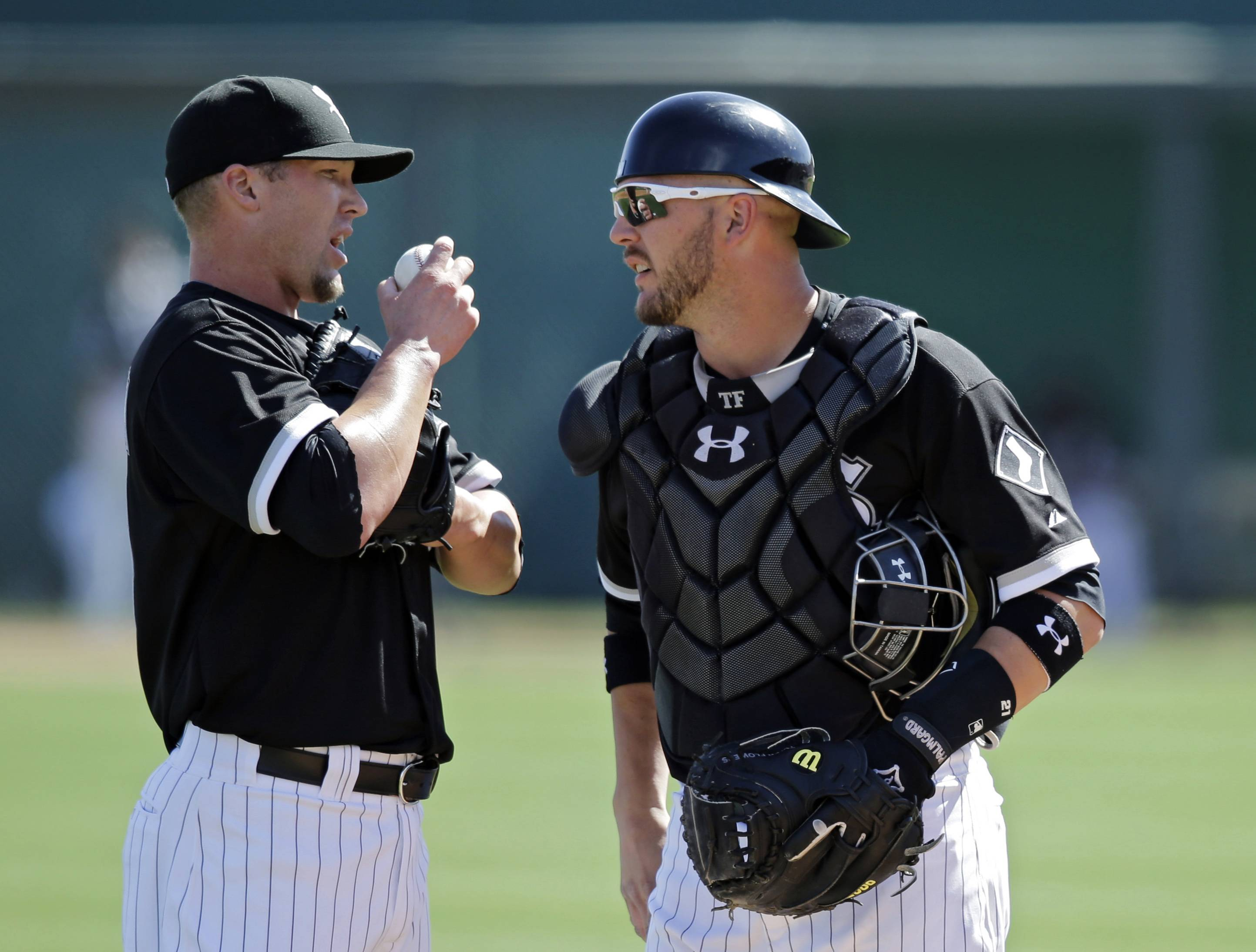 Matt Lindstrom, left, shown talking with catcher Tyler Flowers, is a candidate to be the White Sox closer.