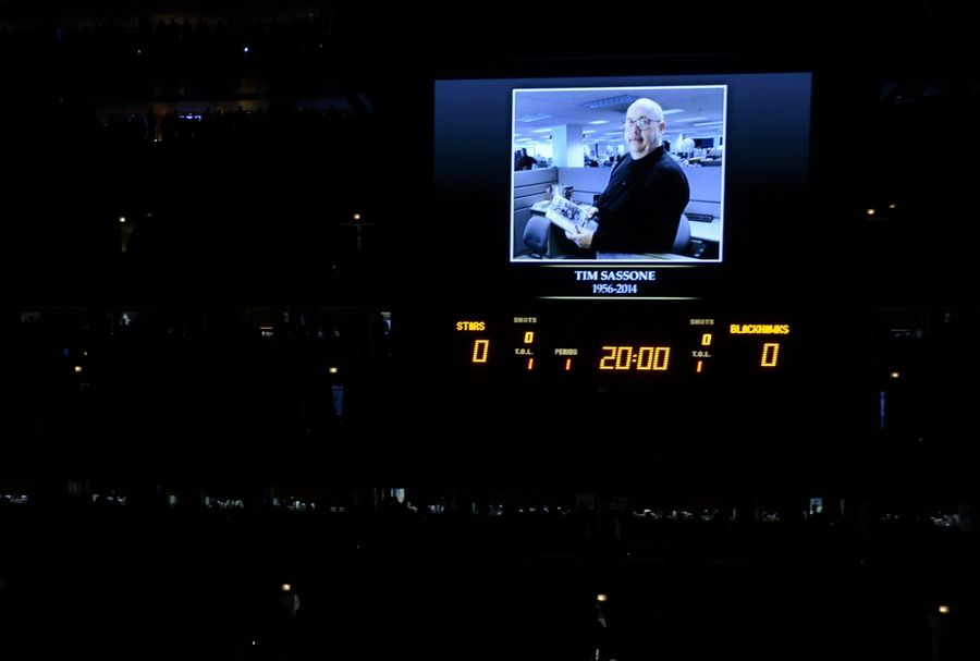 Daily Herald sports writer Tim Sassone, who died last week, was honored with a moment of silence before Tuesday's Blackhawks game at the United Center.