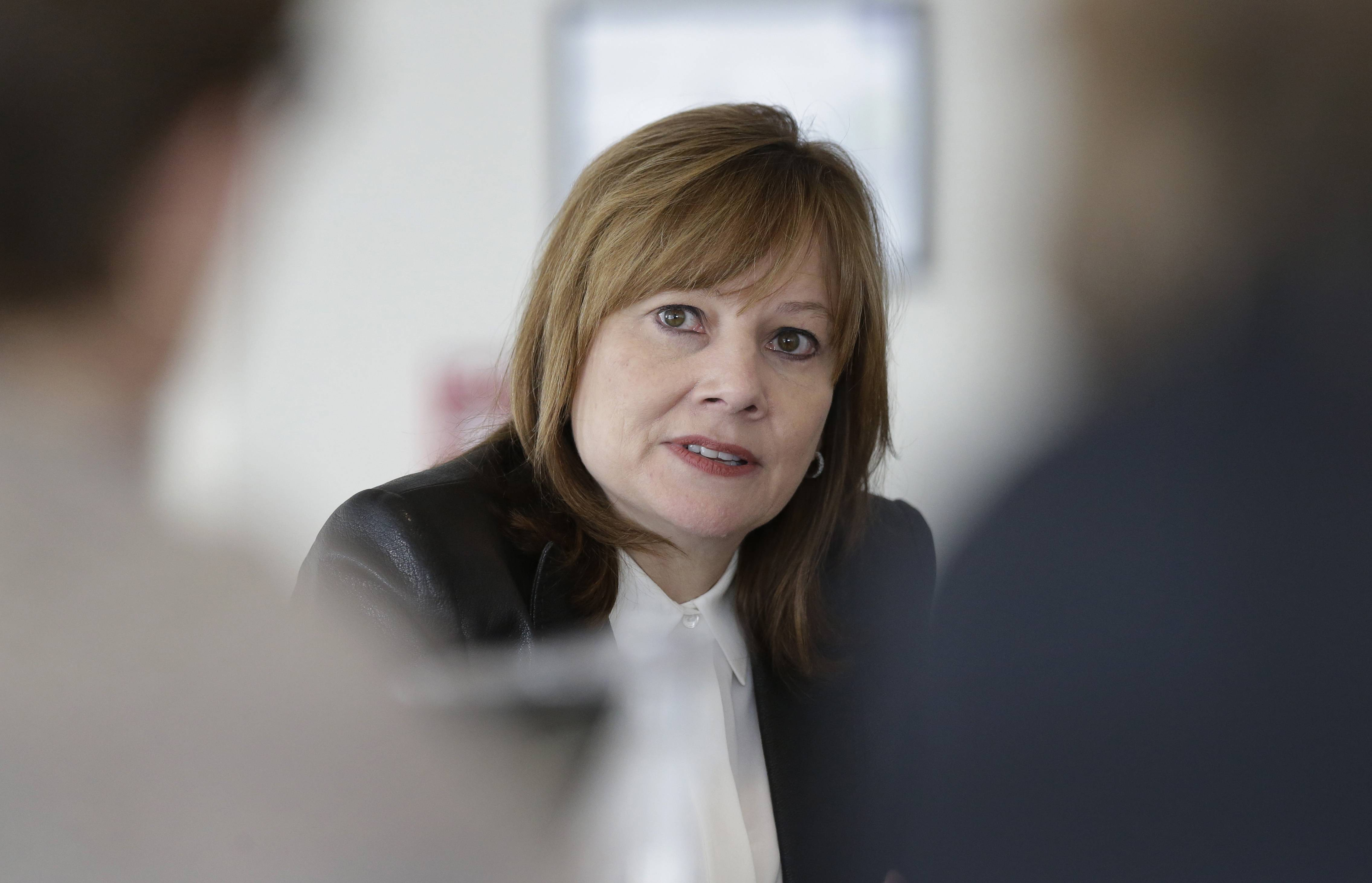 General Motors CEO Mary Barra addressing the media during a roundtable meeting with journalists in Detroit.