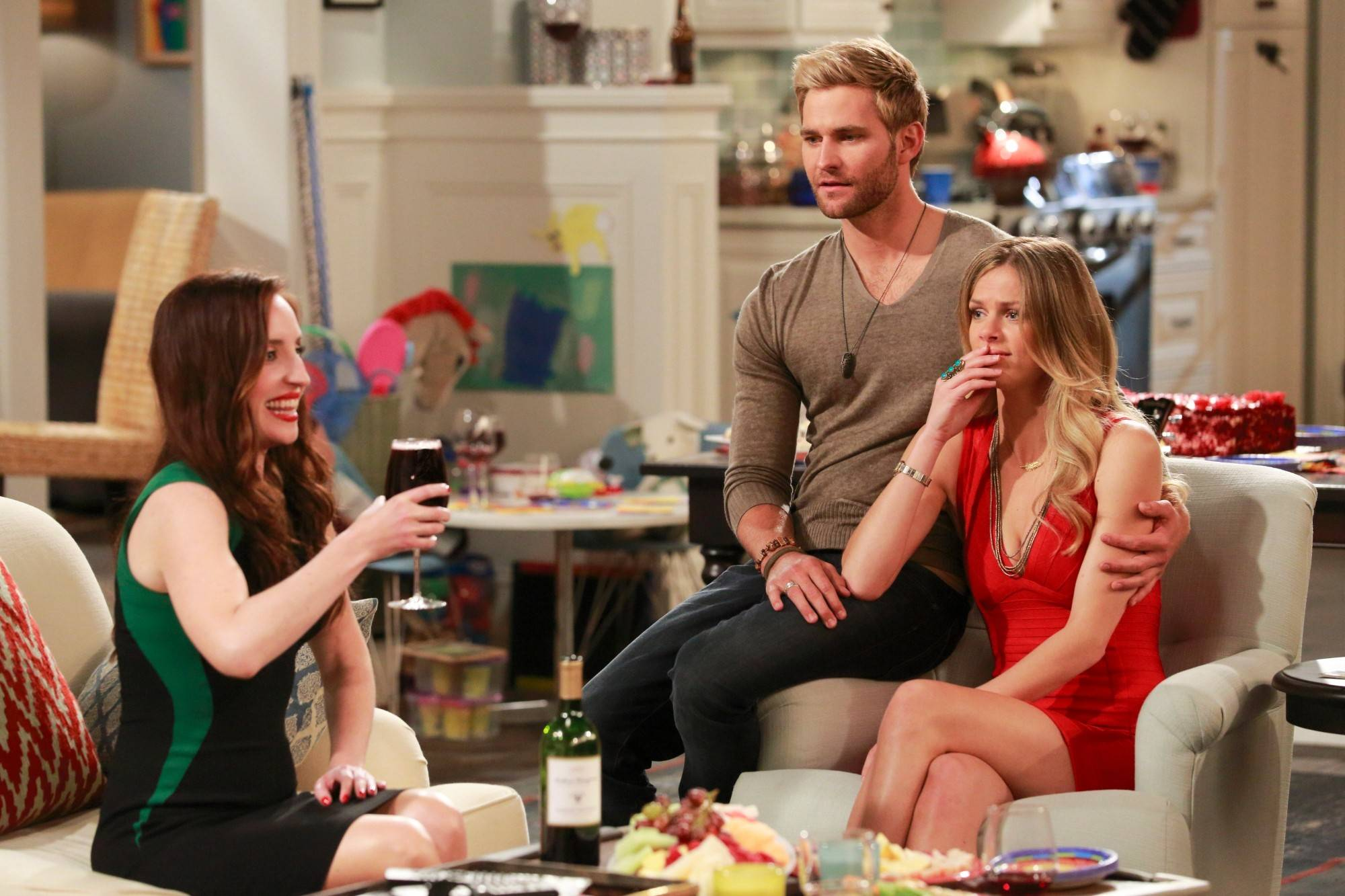 "Single Kate (Zoe Lister Jones), left, spends time with newly engaged couple Lowell (Rick Donald) and Jules (Brooklyn Decker) in CBS' new sitcom ""Friends With Better Lives."""
