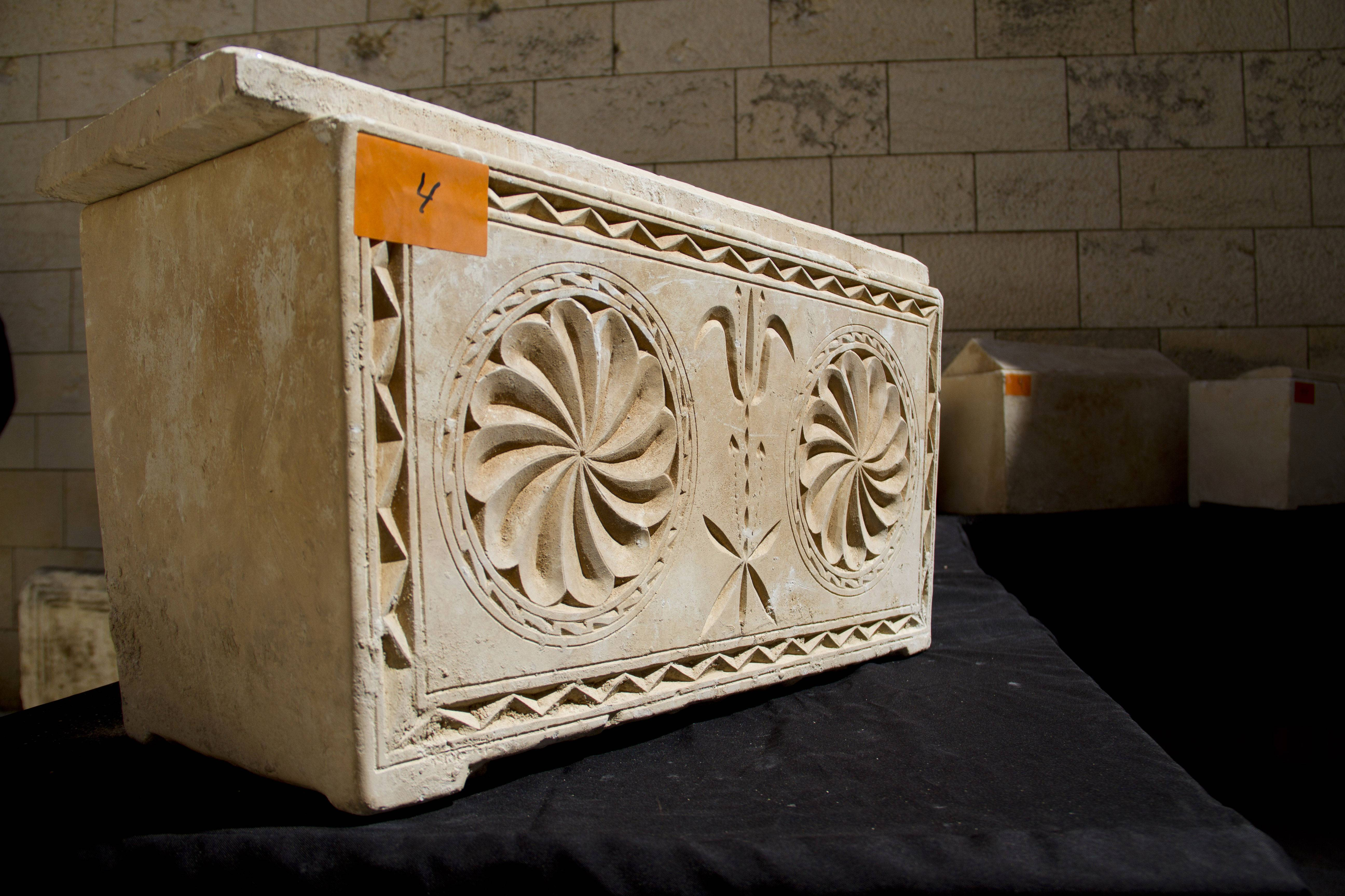 A 2,000 year-old Jewish burial box on display in Jerusalem Monday.