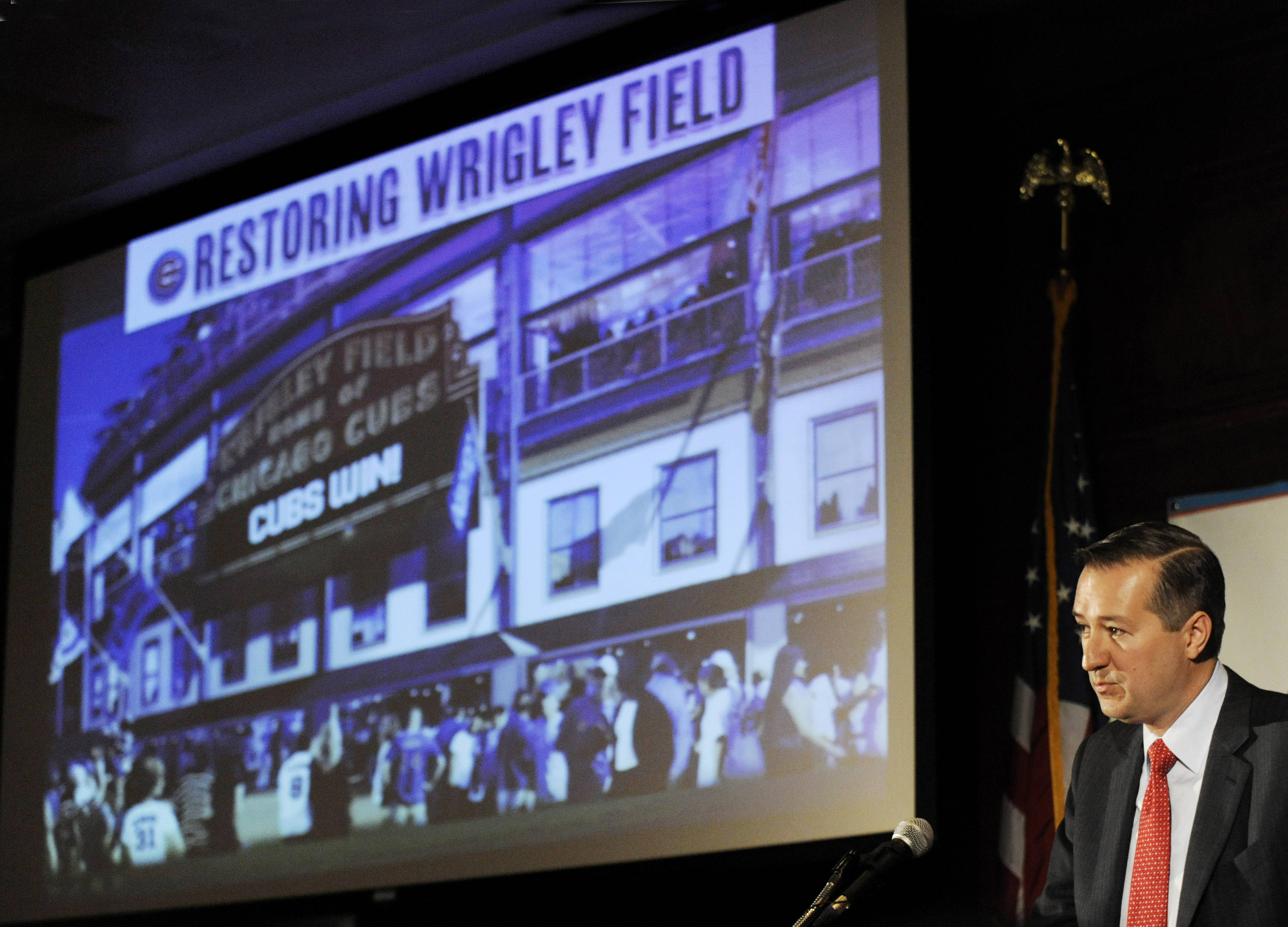 In this May 1, 2013 photo, Chicago Cubs Chairman Tom Ricketts speaks in Chicago about proposed renovations at Wrigley Field.