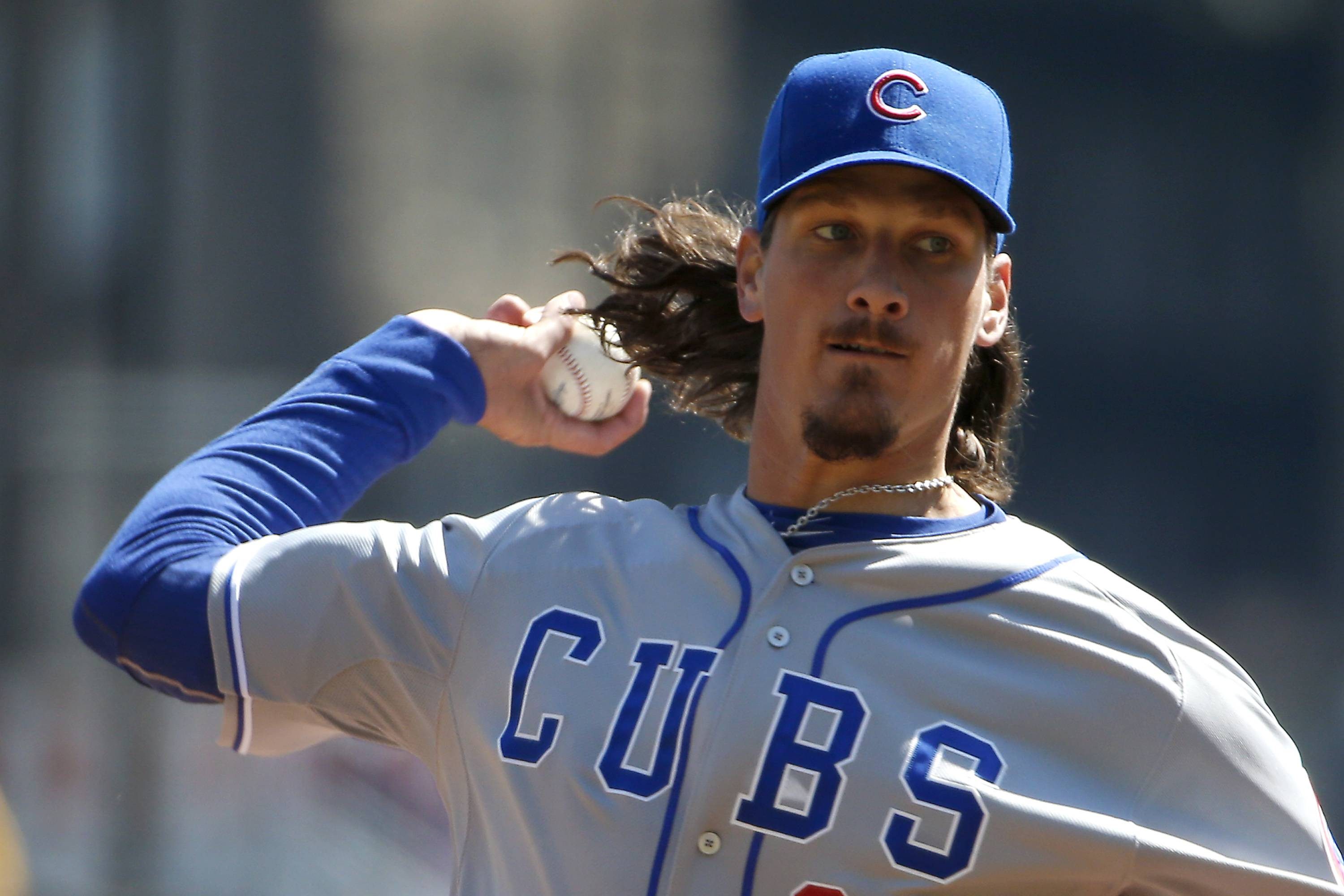Chicago Cubs starting pitcher Jeff Samardzija throws in the second inning against the Pittsburgh Pirates.