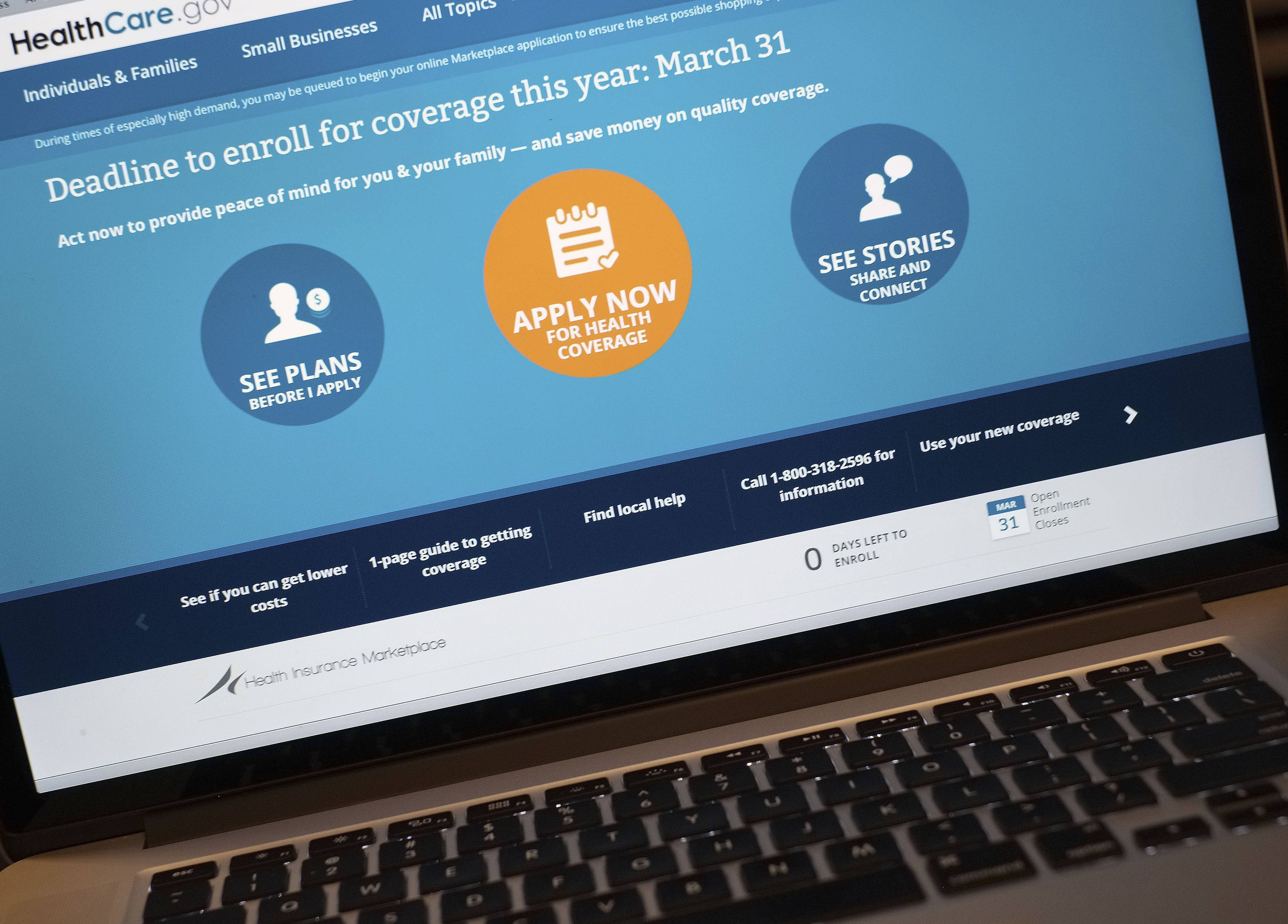 The Obama administration's health care website stumbled, falling out of service for nearly four hours on deadline day for new sign-ups.