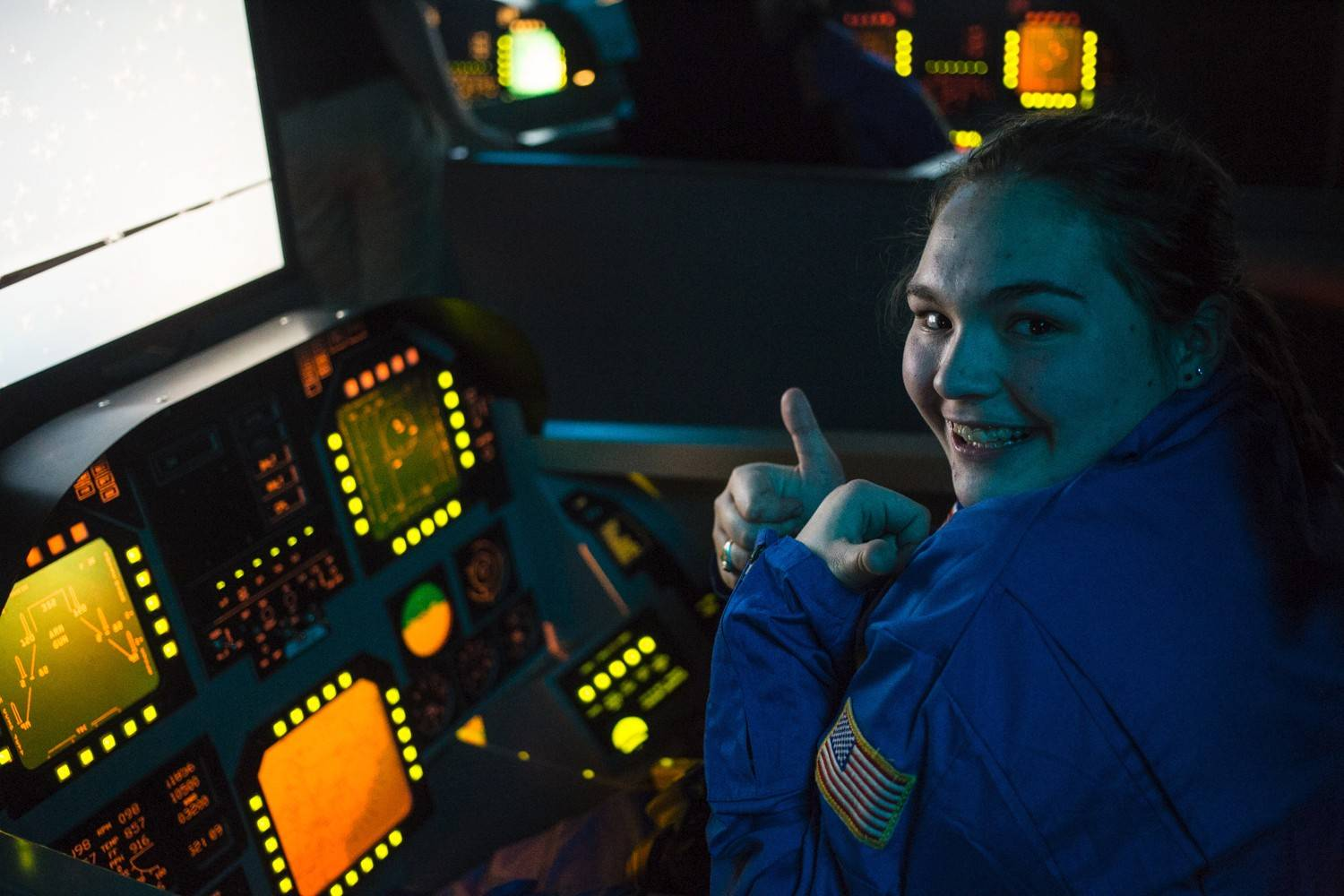 Zoey Krawczyk of Rolling Meadows is in a simulator at the International Space Station as part of a space academy program funded by Honeywell at the U.S. Space & Rocket Center in Huntsville, Ala.