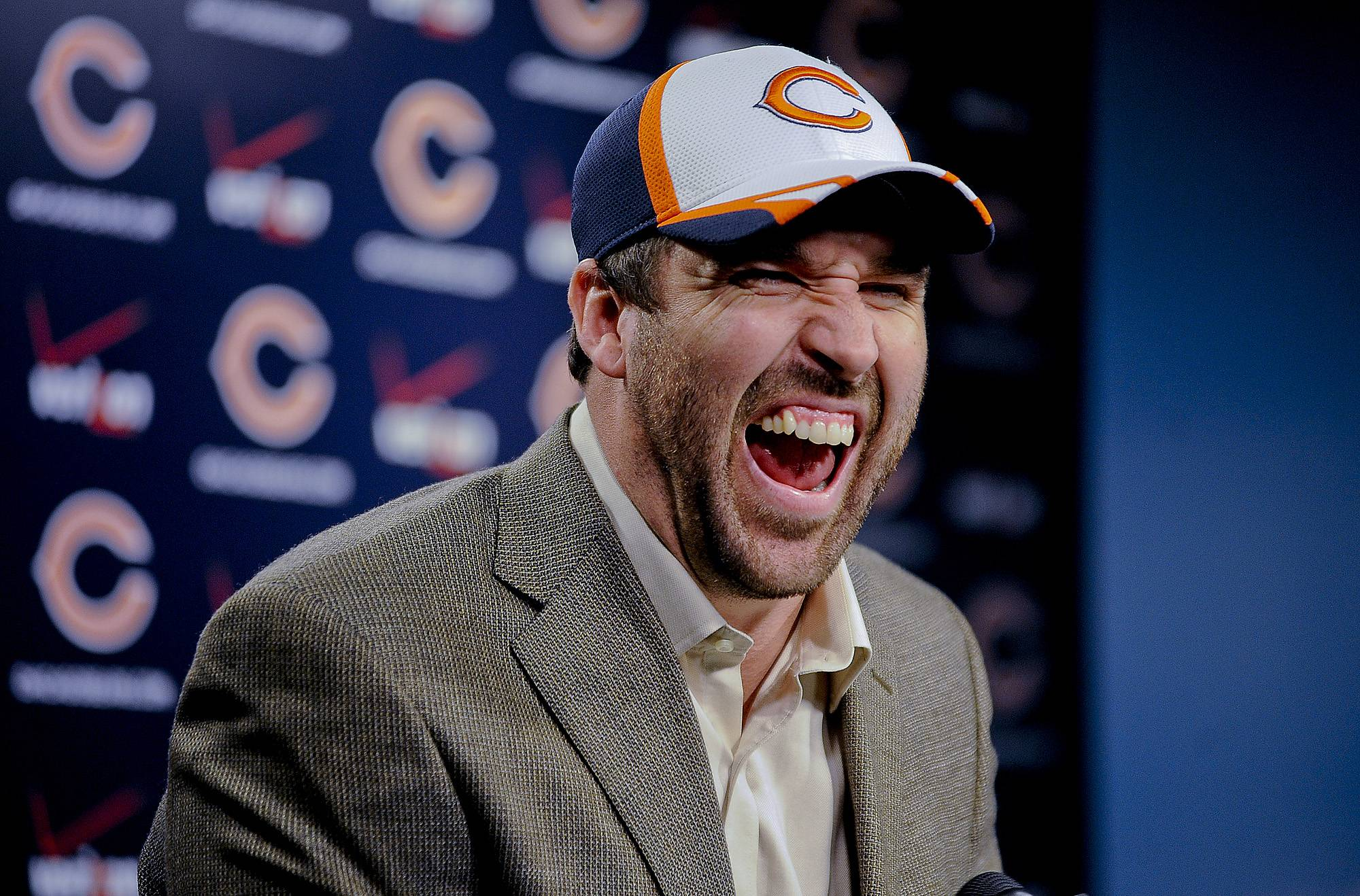 Defensive end Jared Allen laughs during a news conference to introduce him as a Bear on Monday in Lake Forest. Allen leads the league with 128½ sacks since entering the NFL as a fourth-round draft pick in 2004.