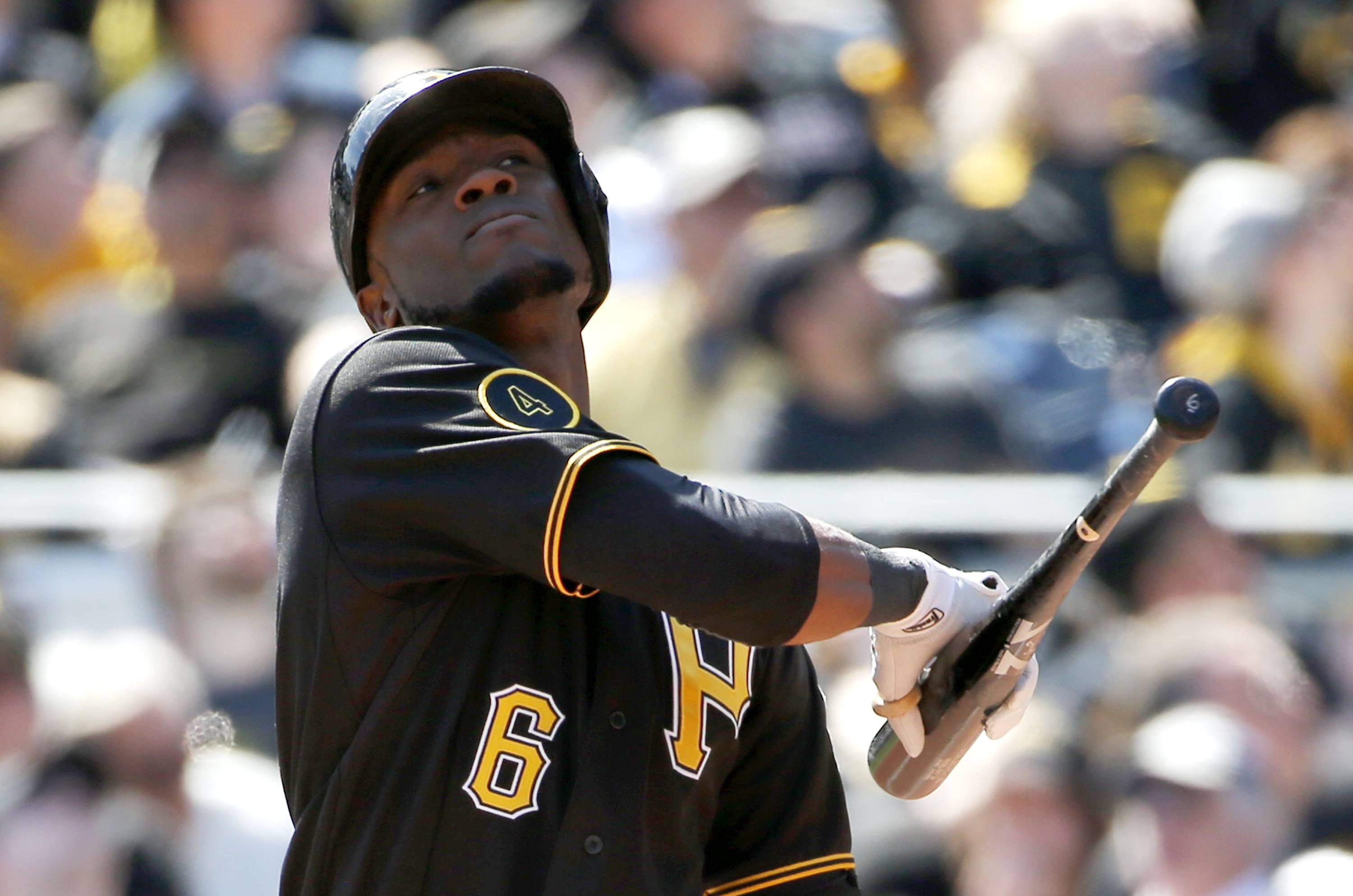 Pittsburgh Pirates' Starling Marte looks up after making a swinging strike in the fourth inning.