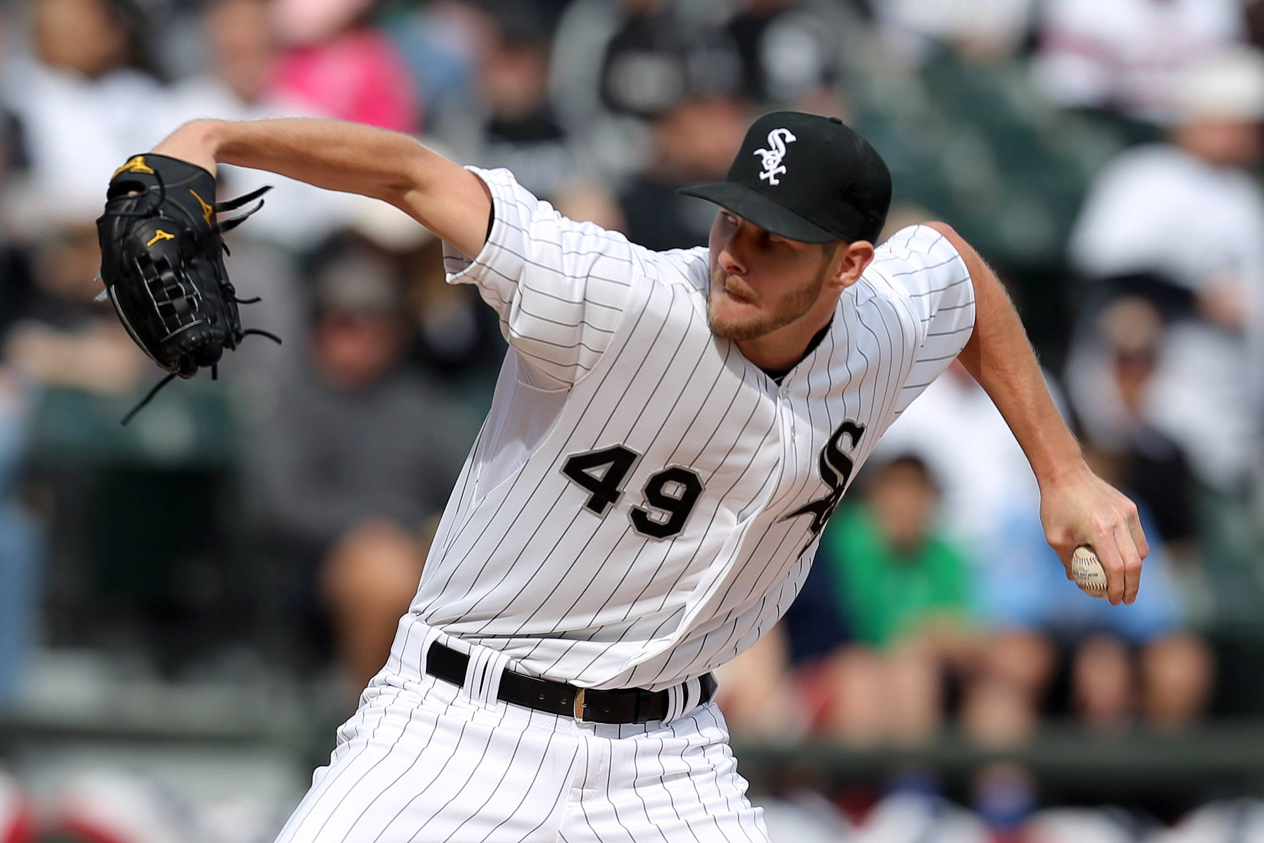 Chicago White Sox starting pitcher Chris Sale delivers.