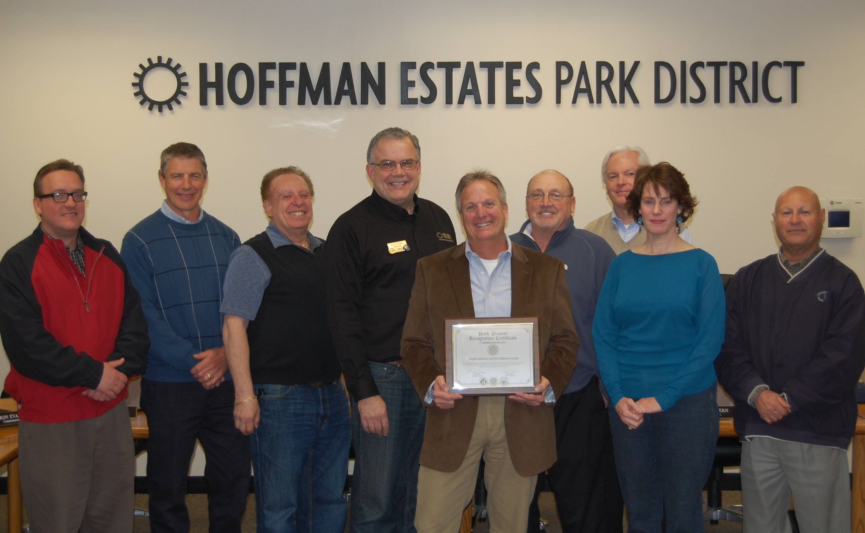 "As part of its 50th year-long celebration, the Hoffman Estates Park District Board of Commissioners designated Joseph L. Fabbrini as a ""Park Pioneer"" at its regular board meeting on Tuesday, March 25. Accepting the award on behalf of his late father was Jim Fabbrini.Hoffman Estates Park District"