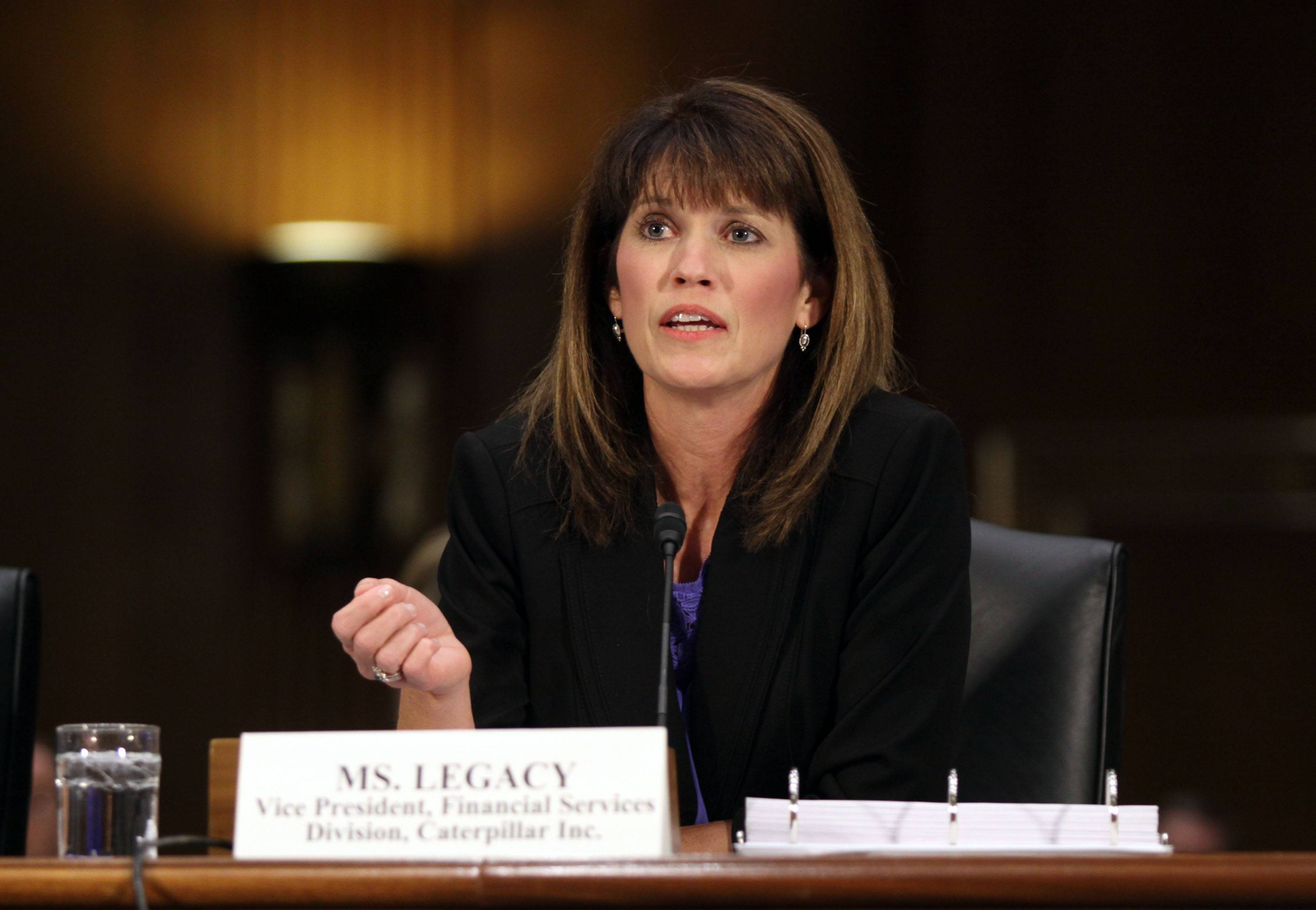 "Julie Lagacy, vice president, Finance Services Division of Caterpillar, testifies on Capitol Hill Tuesday before the Senate Permanent subcommittee on Investigations hearing: ""Caterpillar's Offshore Tax Strategy."""
