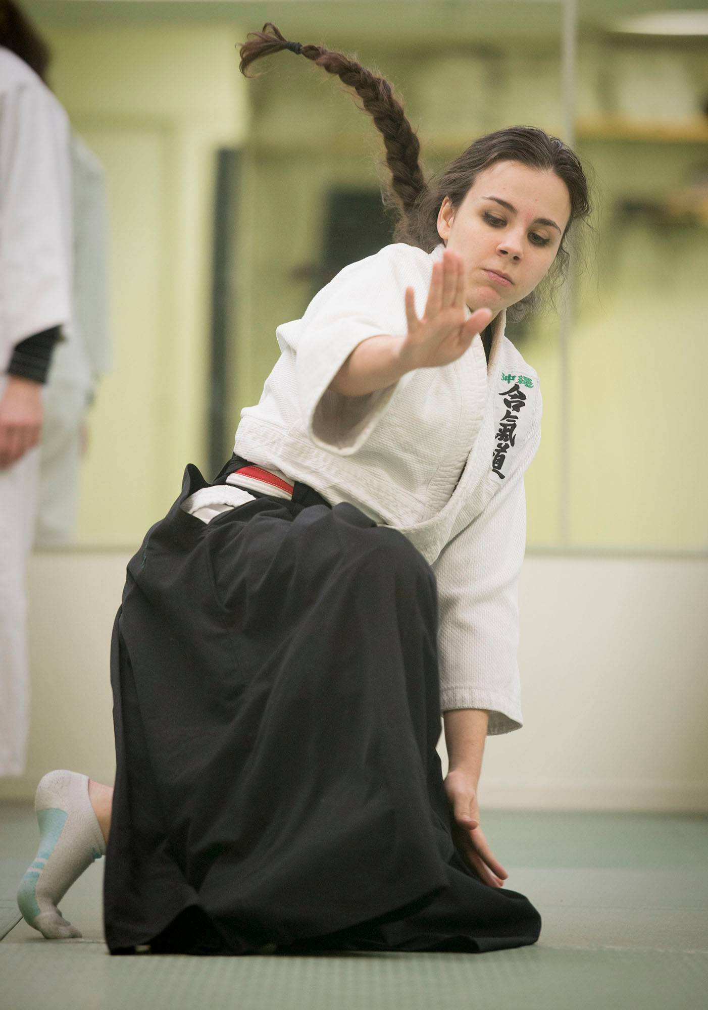 Ana Petricel, 17, practices at D.C. Aikido, where students of all ages and levels of experience and physical fitness take part.