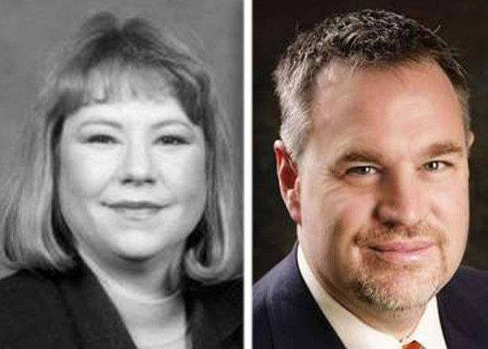 Marmarie Kostelny, left, and D.J. Tegeler, right, are separated by 7 votes in the race for a Kane County Circuit Court judge seat.