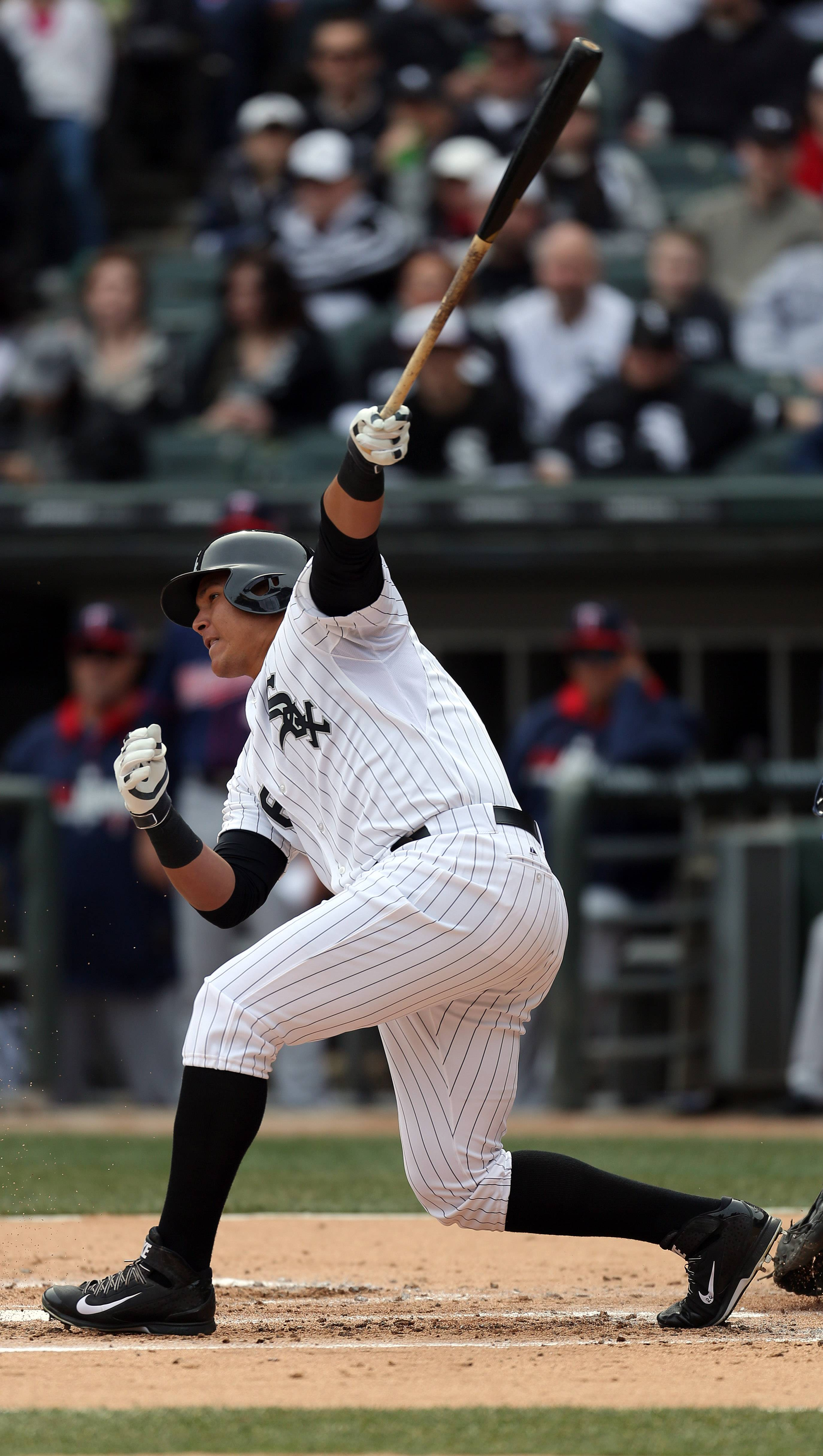 Chicago White Sox right fielder Avisail Garcia connects with the ball during the White Sox home opener against the Minnesota twins Monday at U.S. Cellular Field.