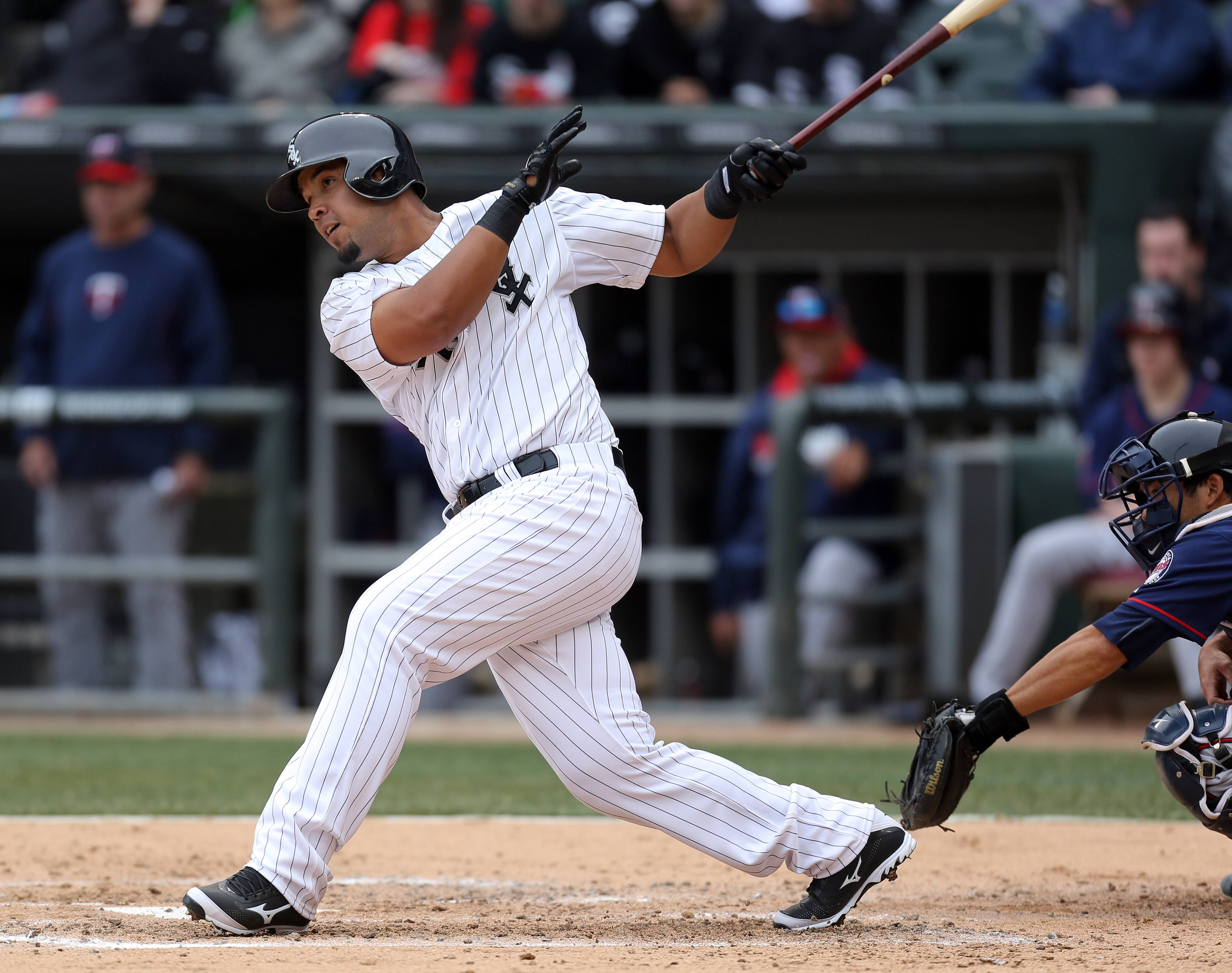 Chicago White Sox first baseman Jose Abreu connects during the White Sox home opener against the Minnesota twins Monday at US Cellular Field.