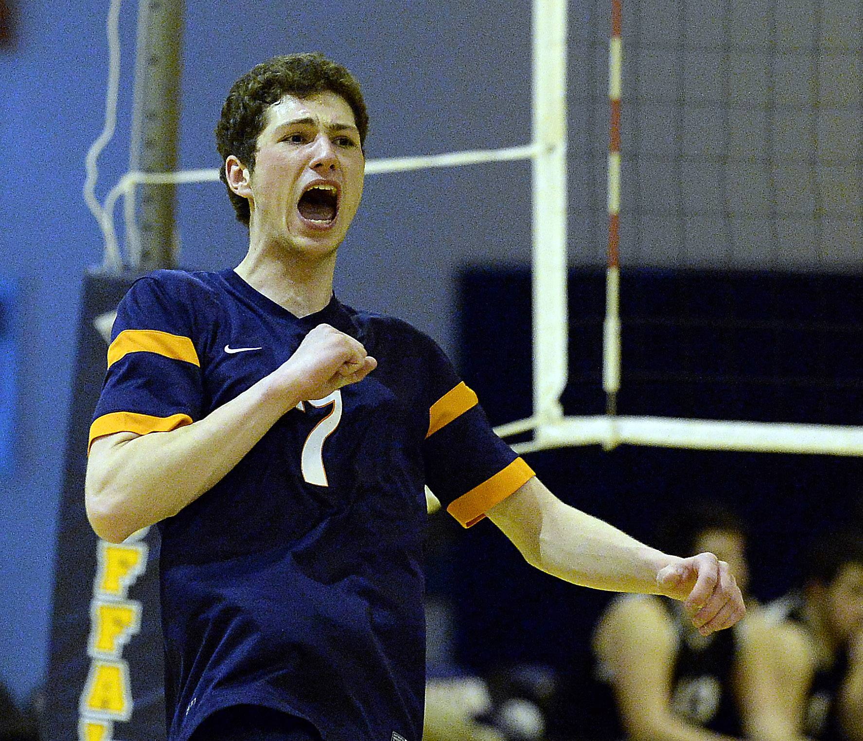 Buffalo Grove's Nikita Bulauski celebrates a point during Thursday's volleyball match in Buffalo Grove.