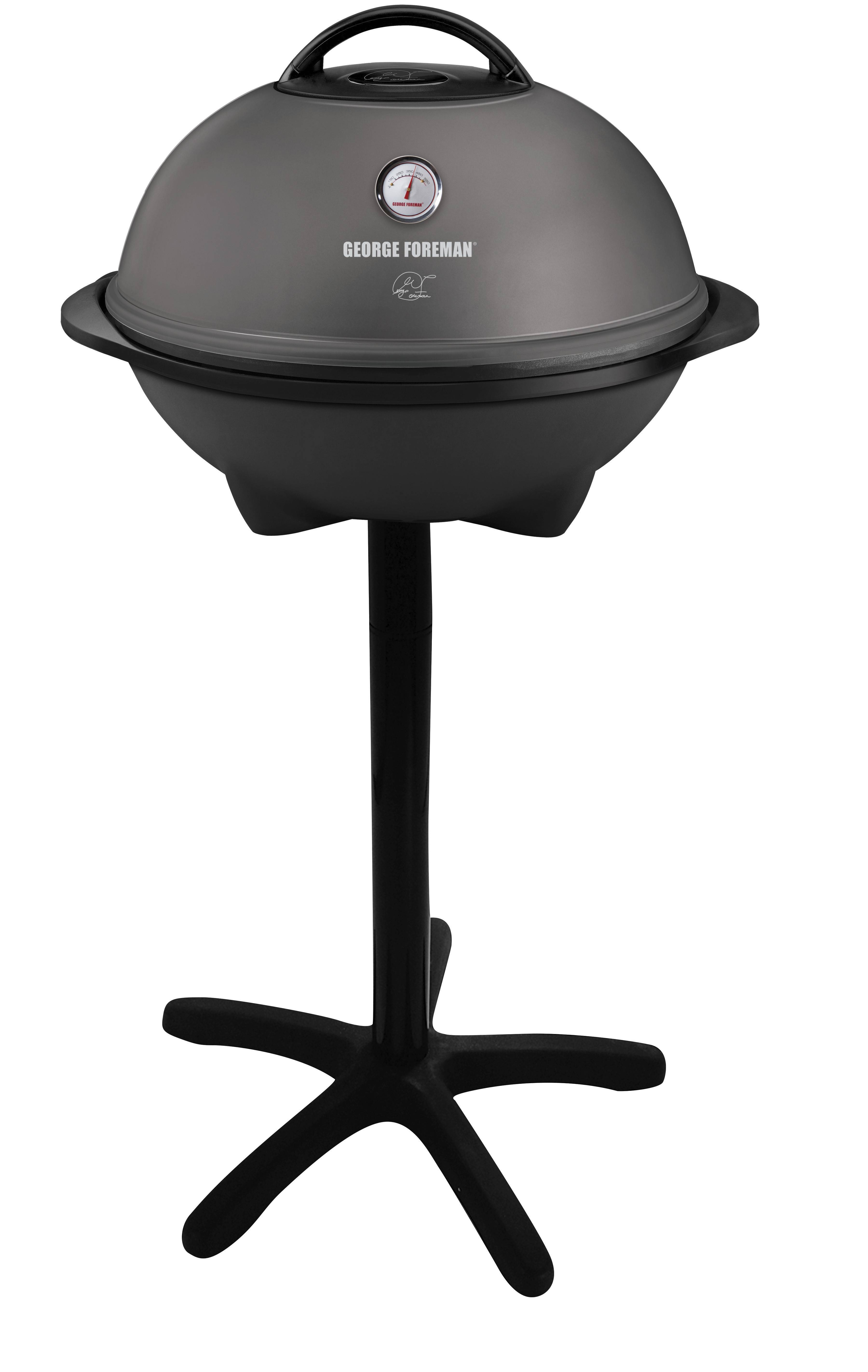 The George Foreman moves from the kitchen counter to the apartment balcony with its Indoor-Outdoor electric grill. It comes with a removable stand, and the removable cooking grate is large enough to hold 15 servings. $99. Available now on QVC; at brick and mortar stores later this year.