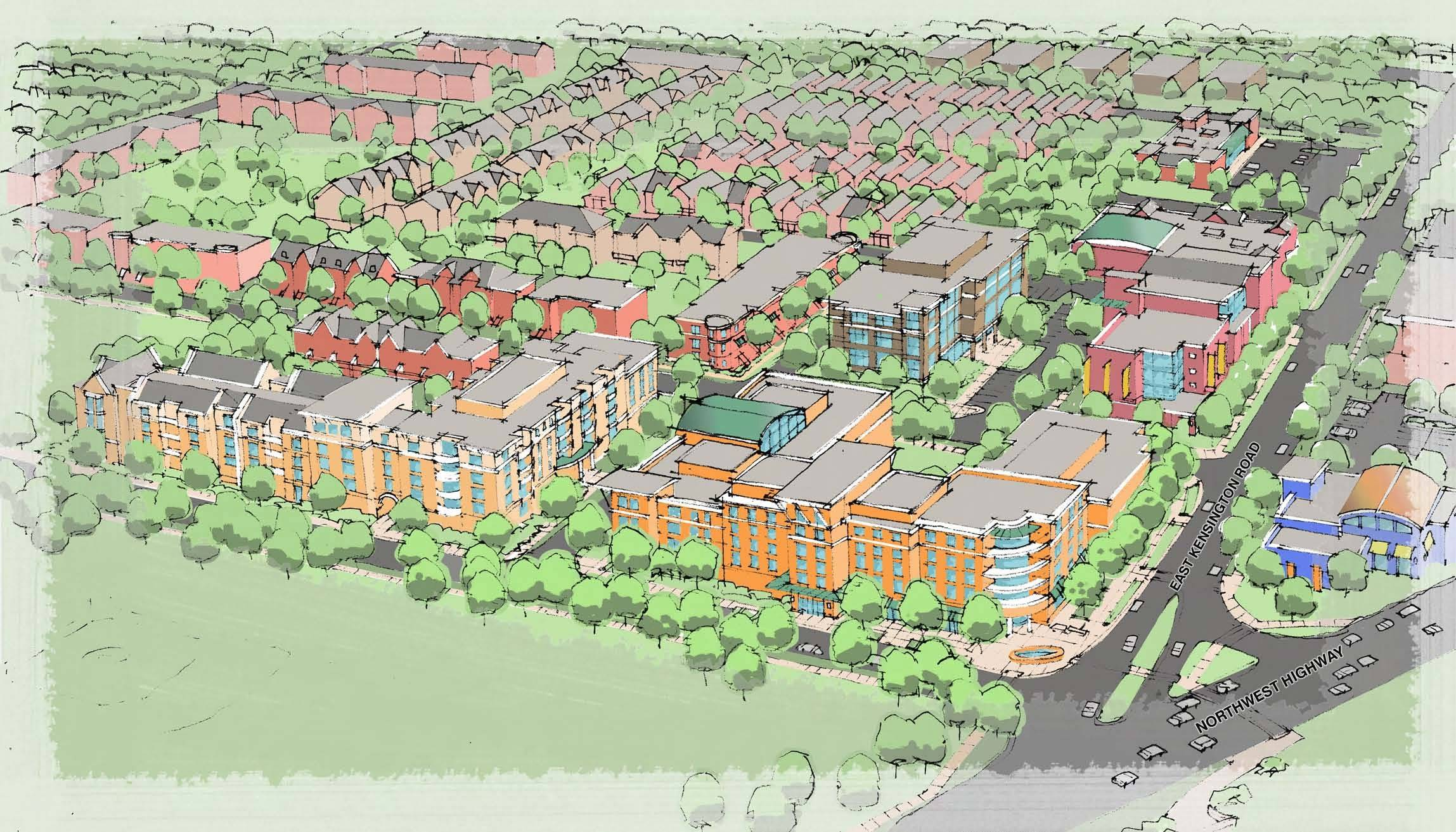 Proposed redevelopment plans for the Hickory-Kensington area in Arlington Heights include a mix of retail and commercial property. The village will host an public meeting Wednesday night on the project and a tax increment financing district intended to support it.