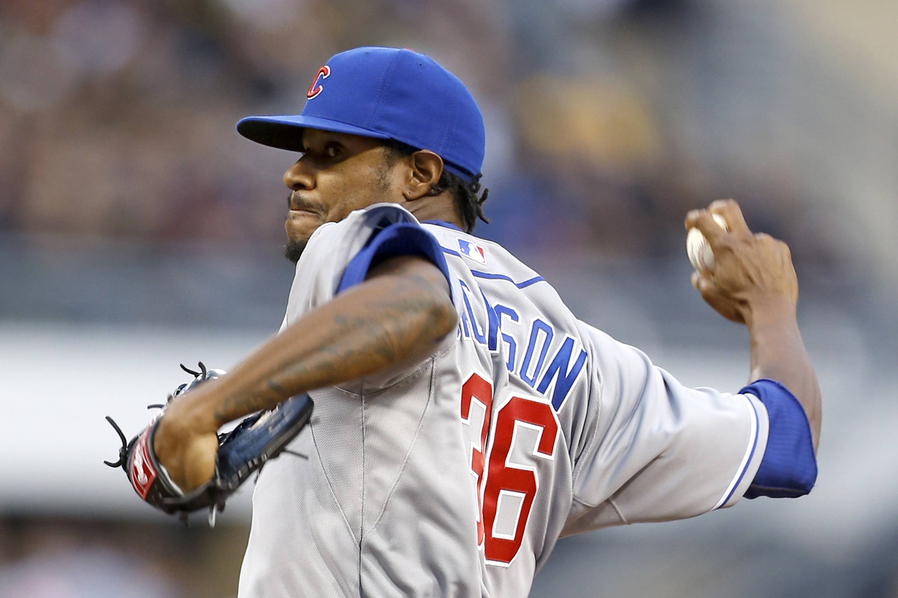 Cubs starting pitcher Edwin Jackson winds up during the first inning of Wednesday night's game against the Pirates in Pittsburgh. Jackson allowed 2 runs (1 earned) on 2 hits in 5⅓ innings.