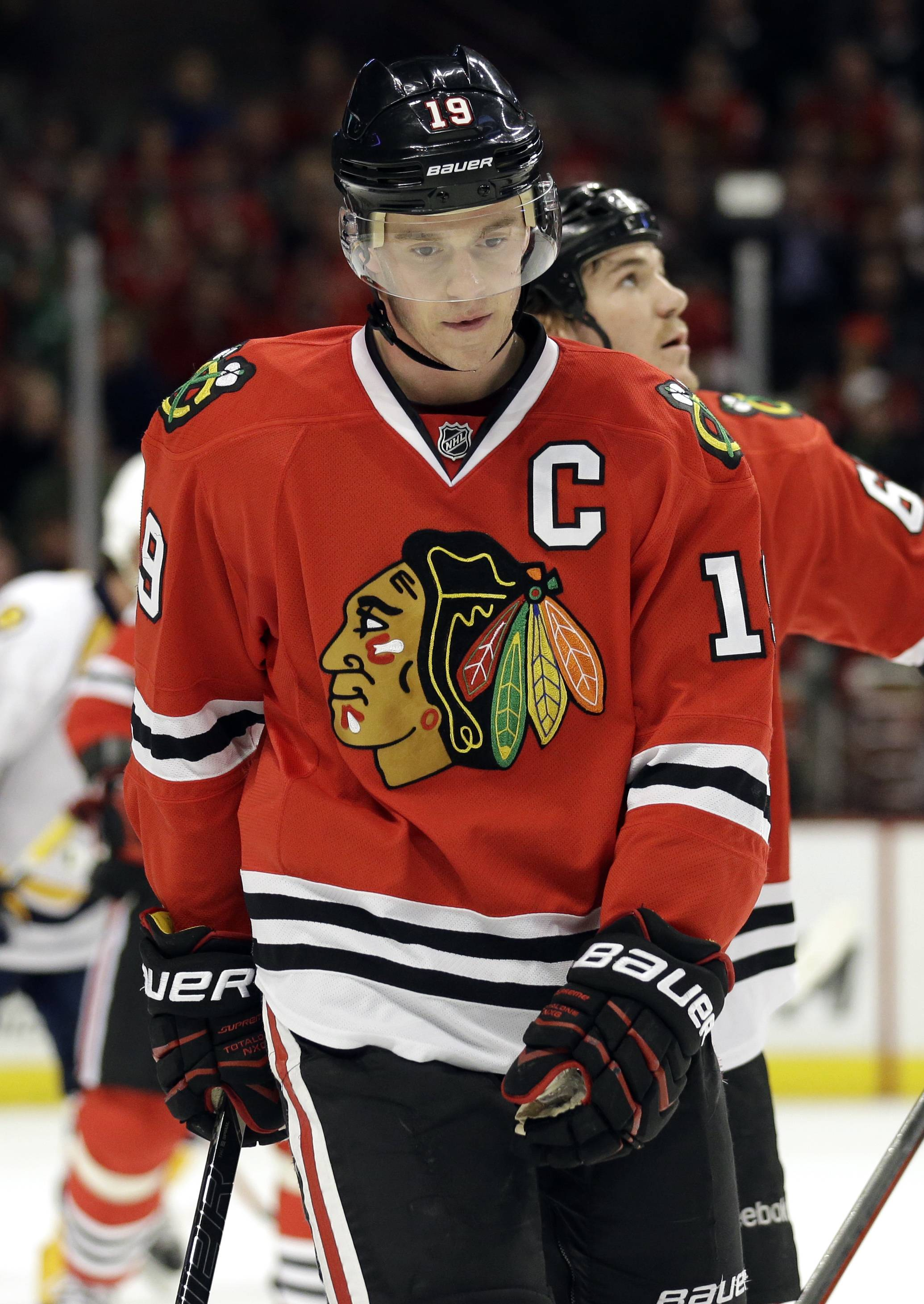 Blackhawks captain Jonathan Toews (19) will miss the final six games of the regular season, team officials said, but he is expected to be healthy when the playoffs begin.