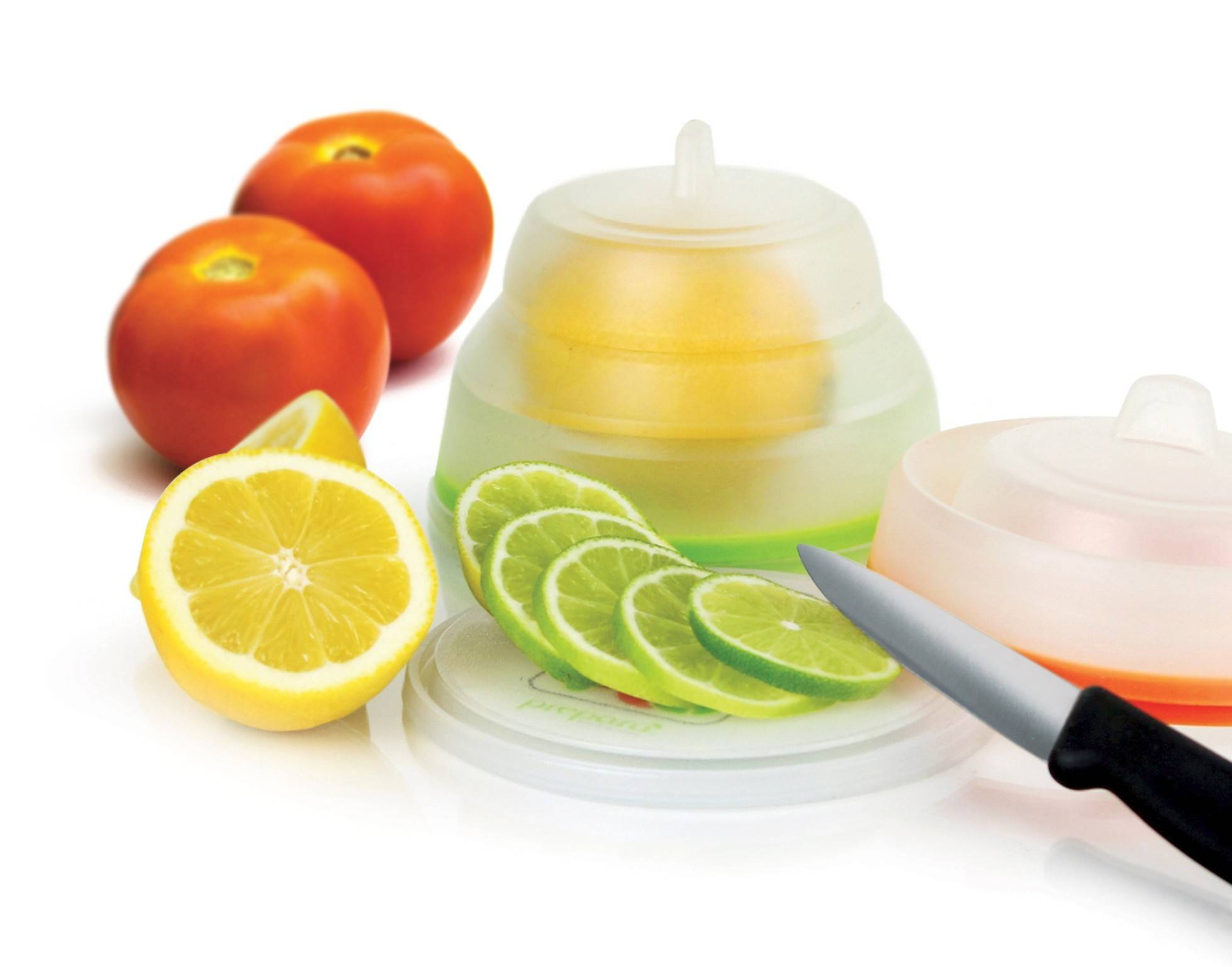 Lemon slices for iced tea and tomato wedges for salads stay fresh and unadulterated by other refrigerator odors with Prepara's Chop Savor. $14.99 for set of three. Available now.