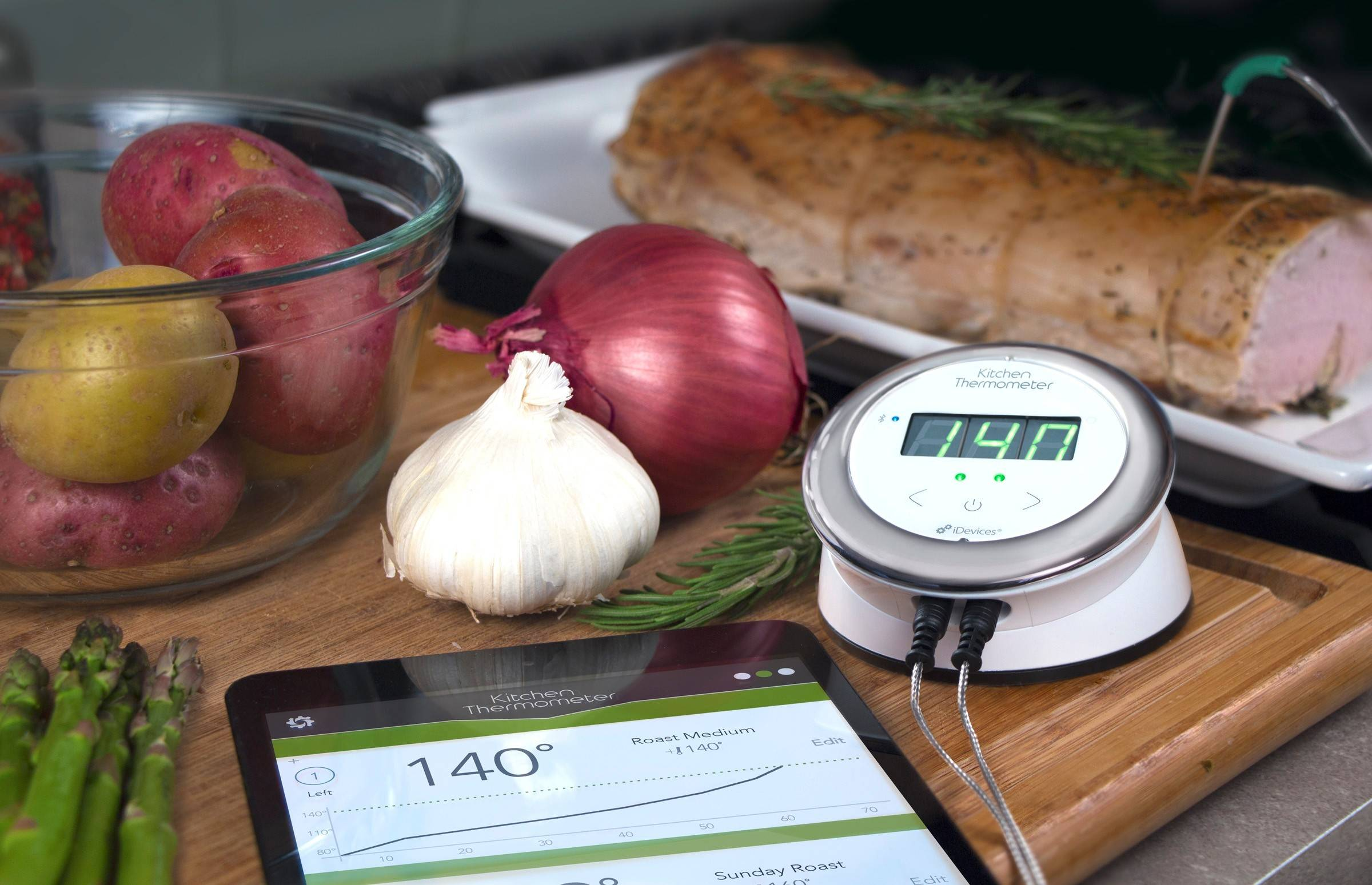 This kitchen thermometer is perfect for the cook with ADD, and I should know: I am one. Insert the probe into the meat you're cooking and Bluetooth Smart technology sends the temperature info to your iPhone, iPad or iTouch. You can attend to other meal prep or get caught up with E! News and not overcook dinner. There's also a model for the grill. $39.99. Available in May at iDevicesinc.com.