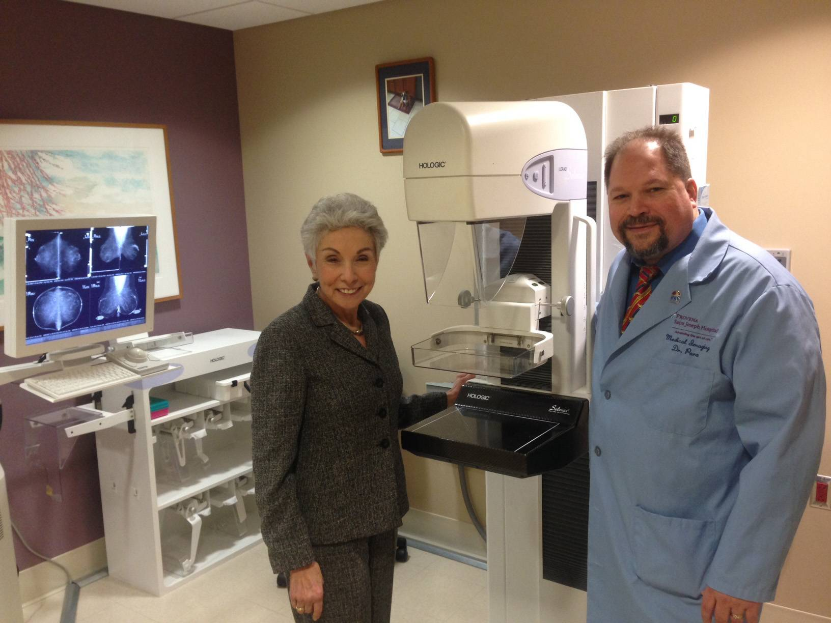 A Silver Lining Foundation in Chicago has partnered with Presence St. Joseph Hospital in Elgin to offer free mammograms for uninsured and underinsured women. Pictured are Sandy Goldberg, left, founder of the foundation, and Dr. Patrick Para, the hospital's medical director of medical imaging.