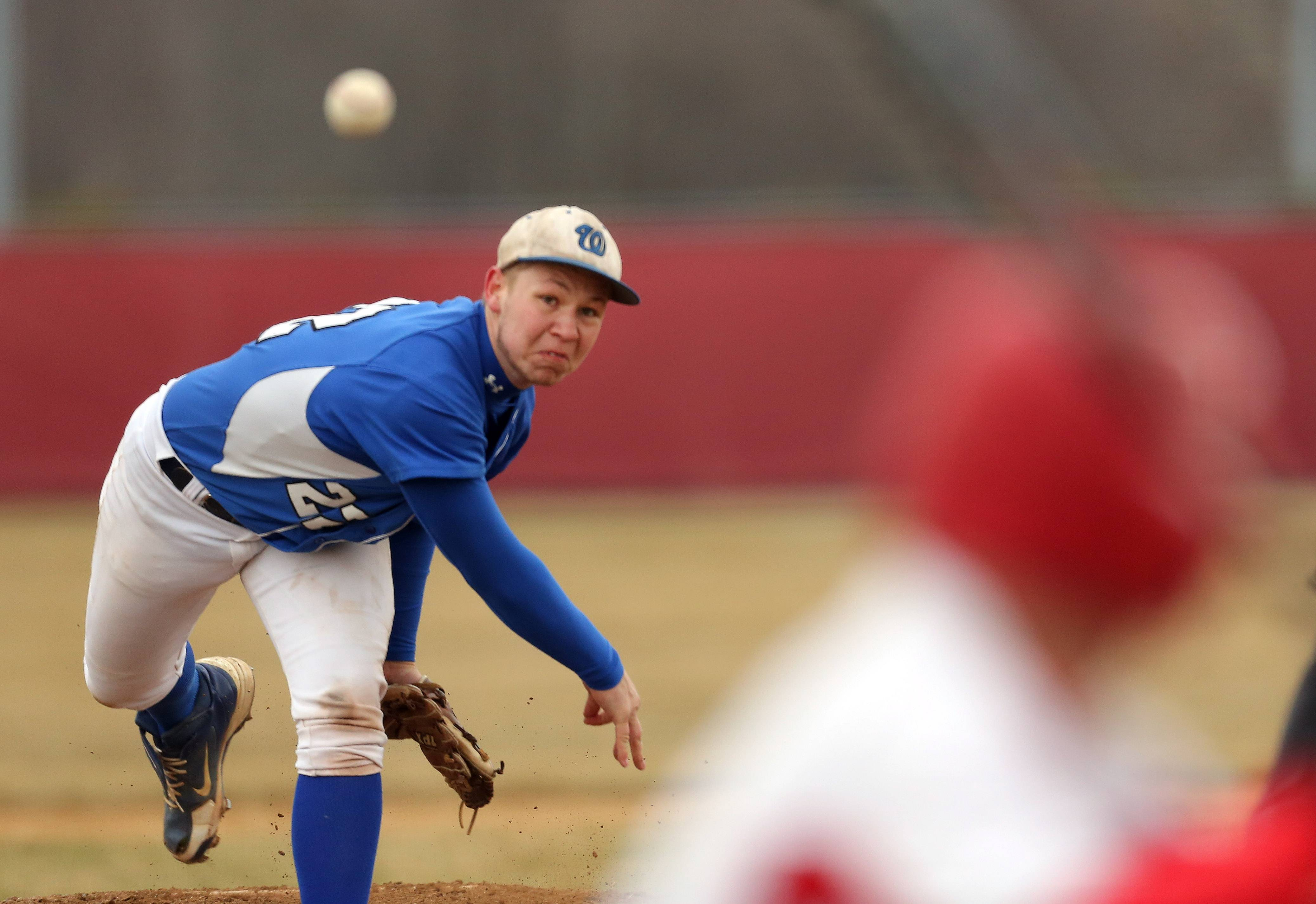 Wheeling pitcher Angelo DeBlasio delivers on Wednesday at Mundelein.