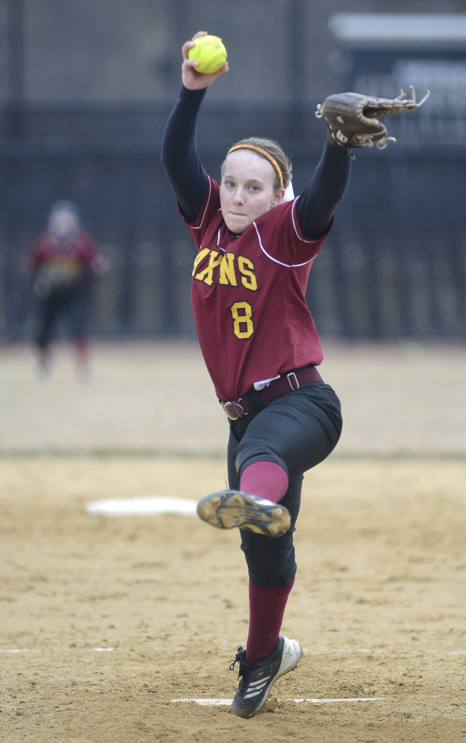 Laura Stoecker/lstoecker@dailyherald.comSchaumburg's Roxanne Kakareka pitches in the game vs. St. Charles North on Wednesday, April 2.