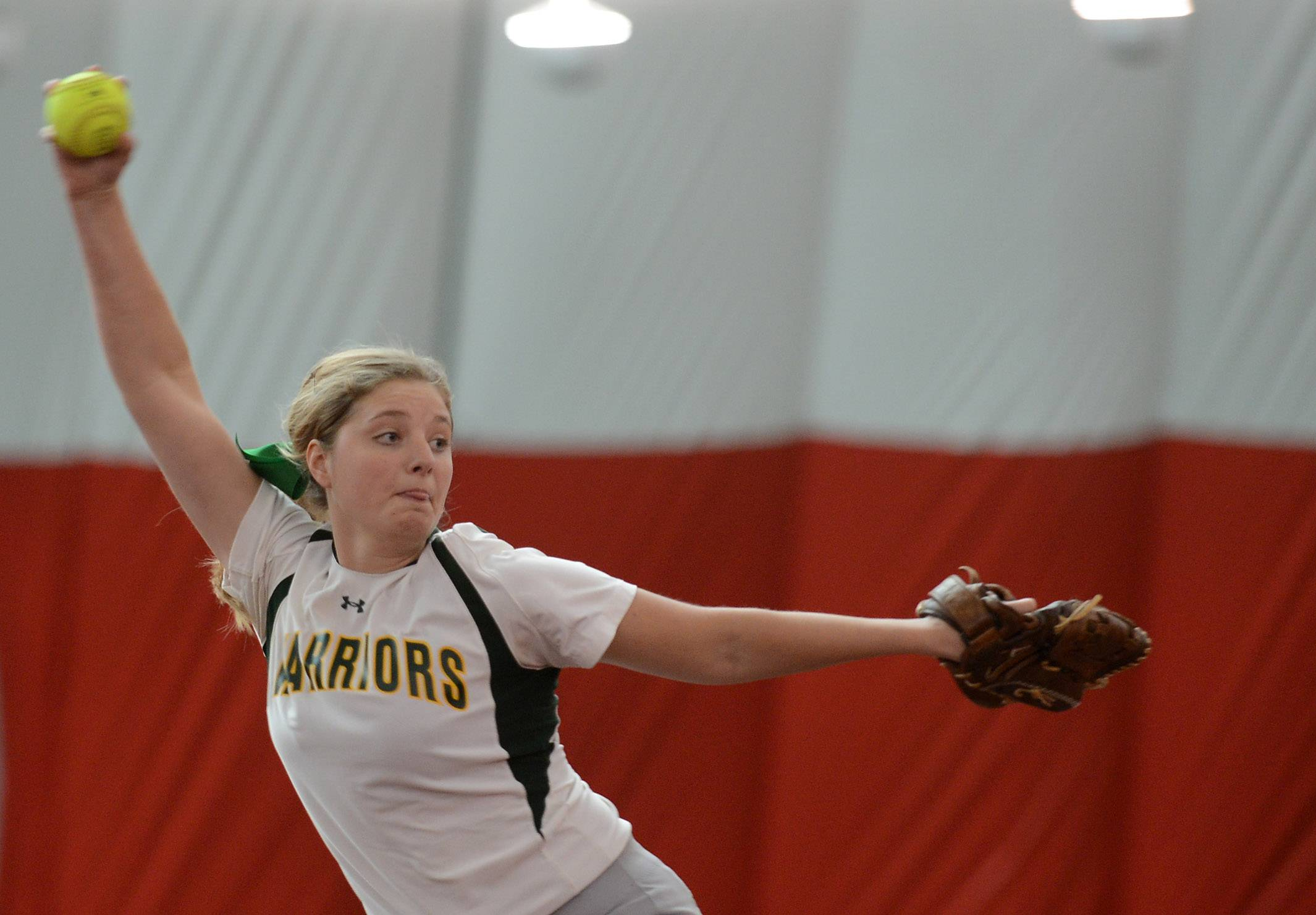 Waubonsie Valley's Shannon Hohman delivers a pitch against Burlington Central during softball action in Rosemont Wednesday.