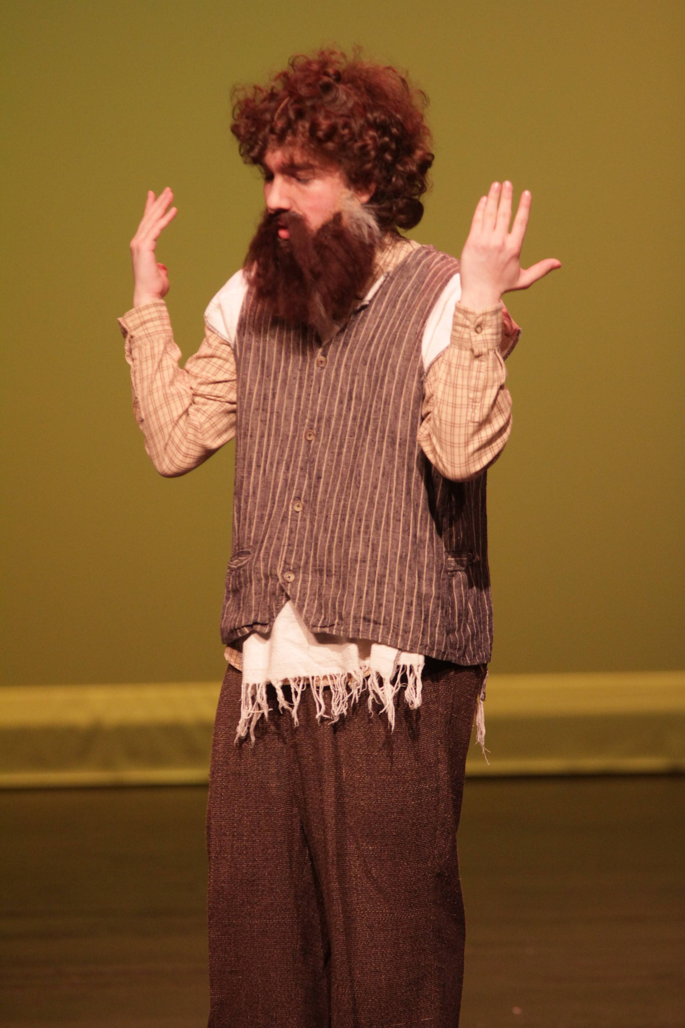 "Streamwood High School senior David Katz plays Tevye in the school's spring musical, ""Fiddler on the Roof."""
