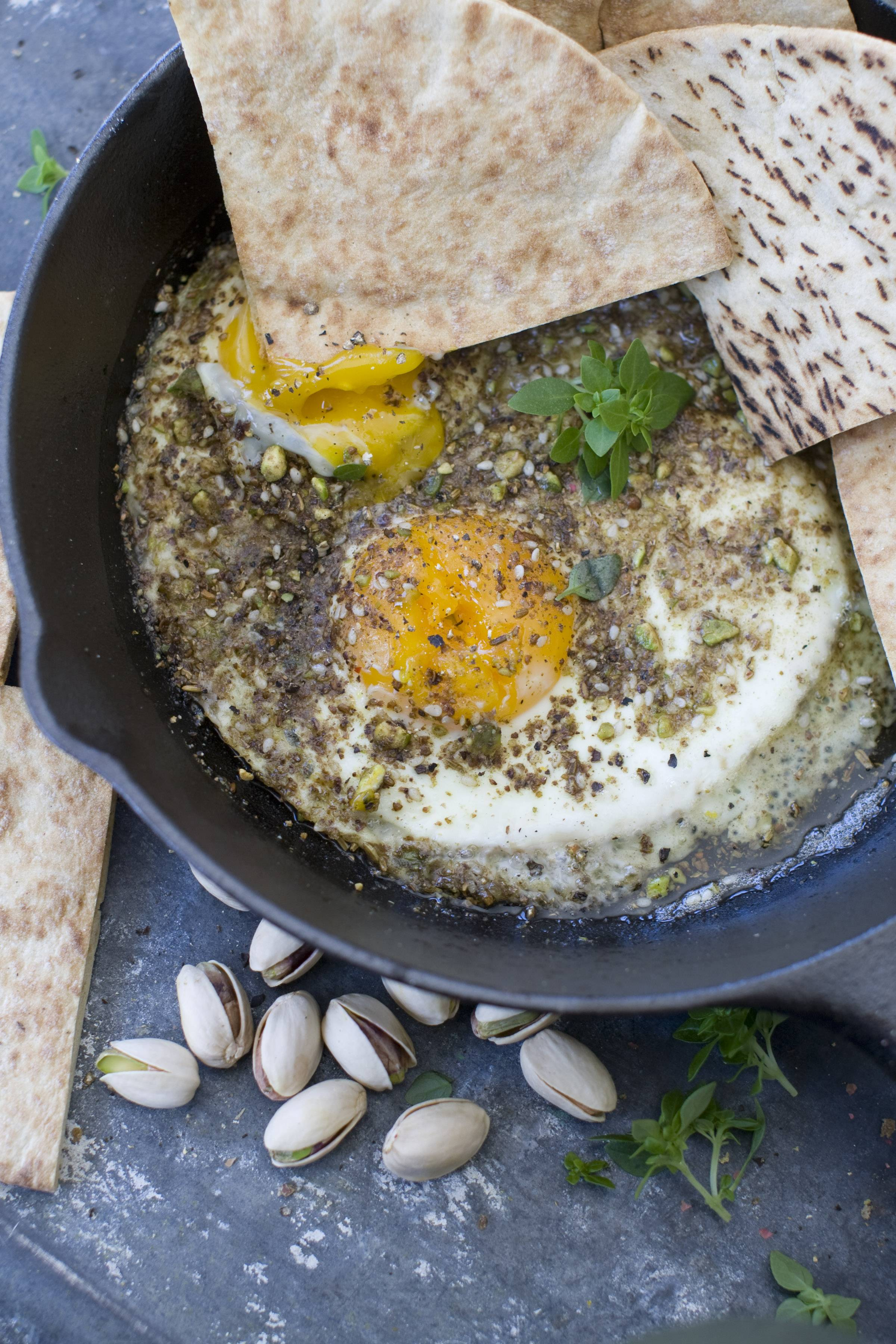 Oven eggs with olive oil and dukkah