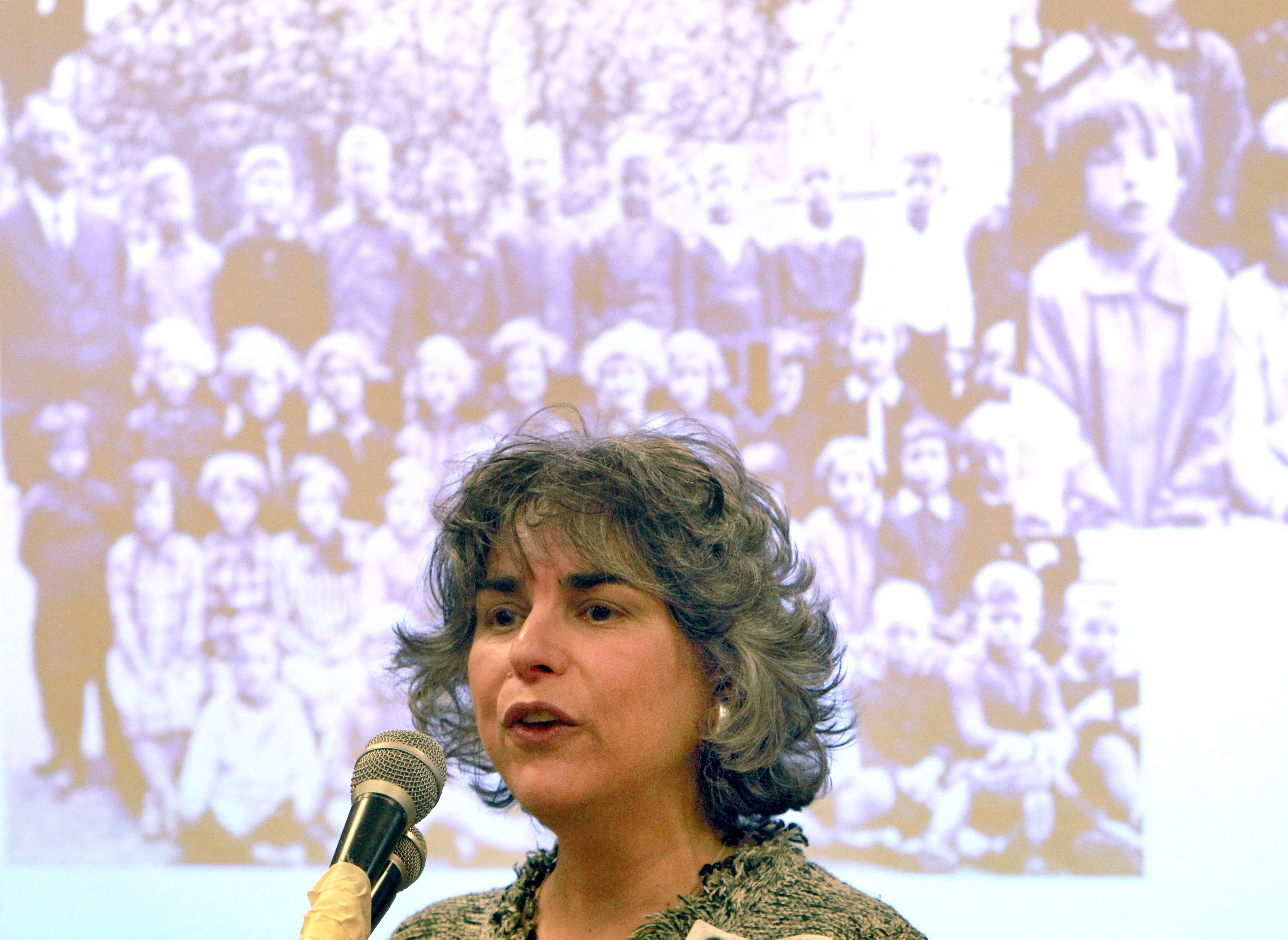 Fern Schumer Champman tells the inspiring story of her mother's immigration from Nazi Germany during Thursday's presentation at Gavin South Elementary School in Ingleside.