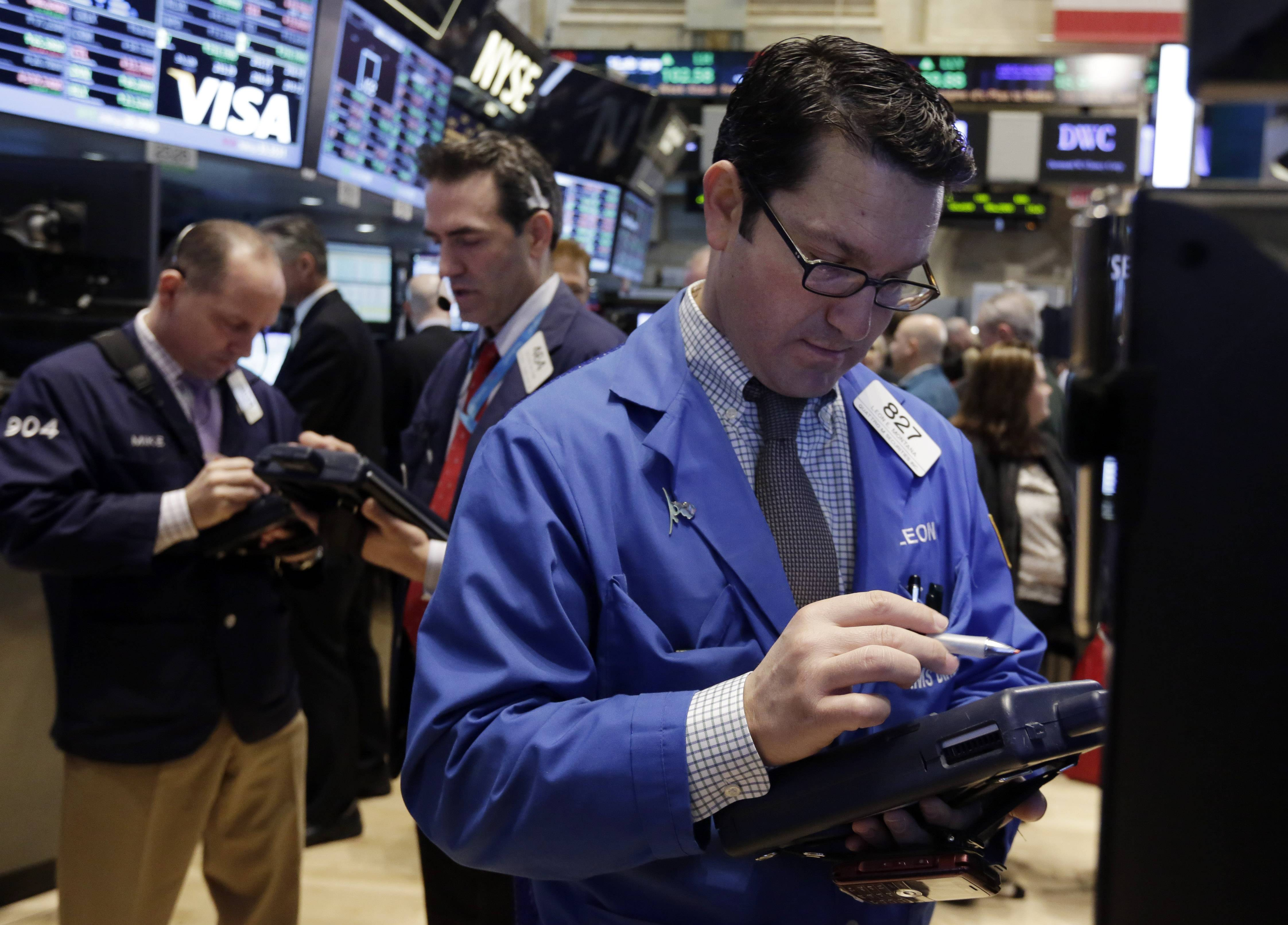 U.S. stocks fell Thursday, after benchmark indexes climbed to records, as consumer and technology shares slumped before the government's monthly jobs report tomorrow.