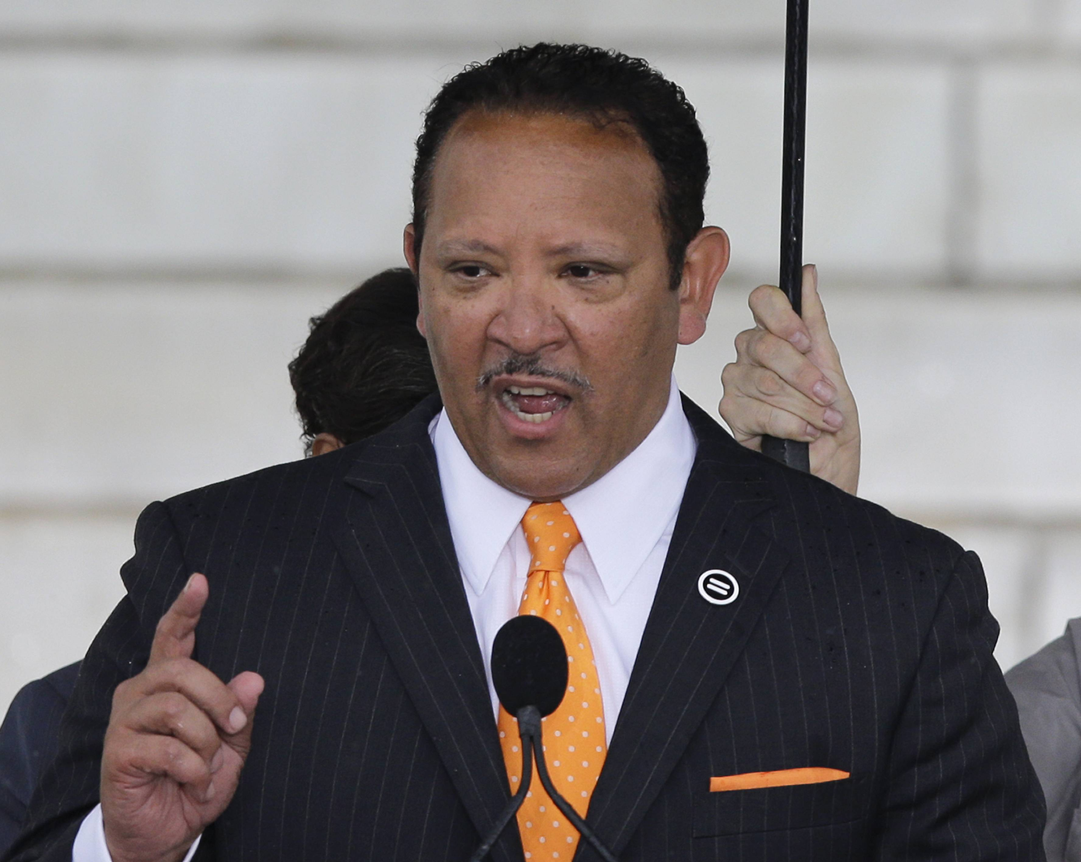 National Urban League President Marc Morial speaking at the Let Freedom Ring ceremony at the Lincoln Memorial in Washington, to commemorate the 50th anniversary of the 1963 March on Washington for Jobs and Freedom.