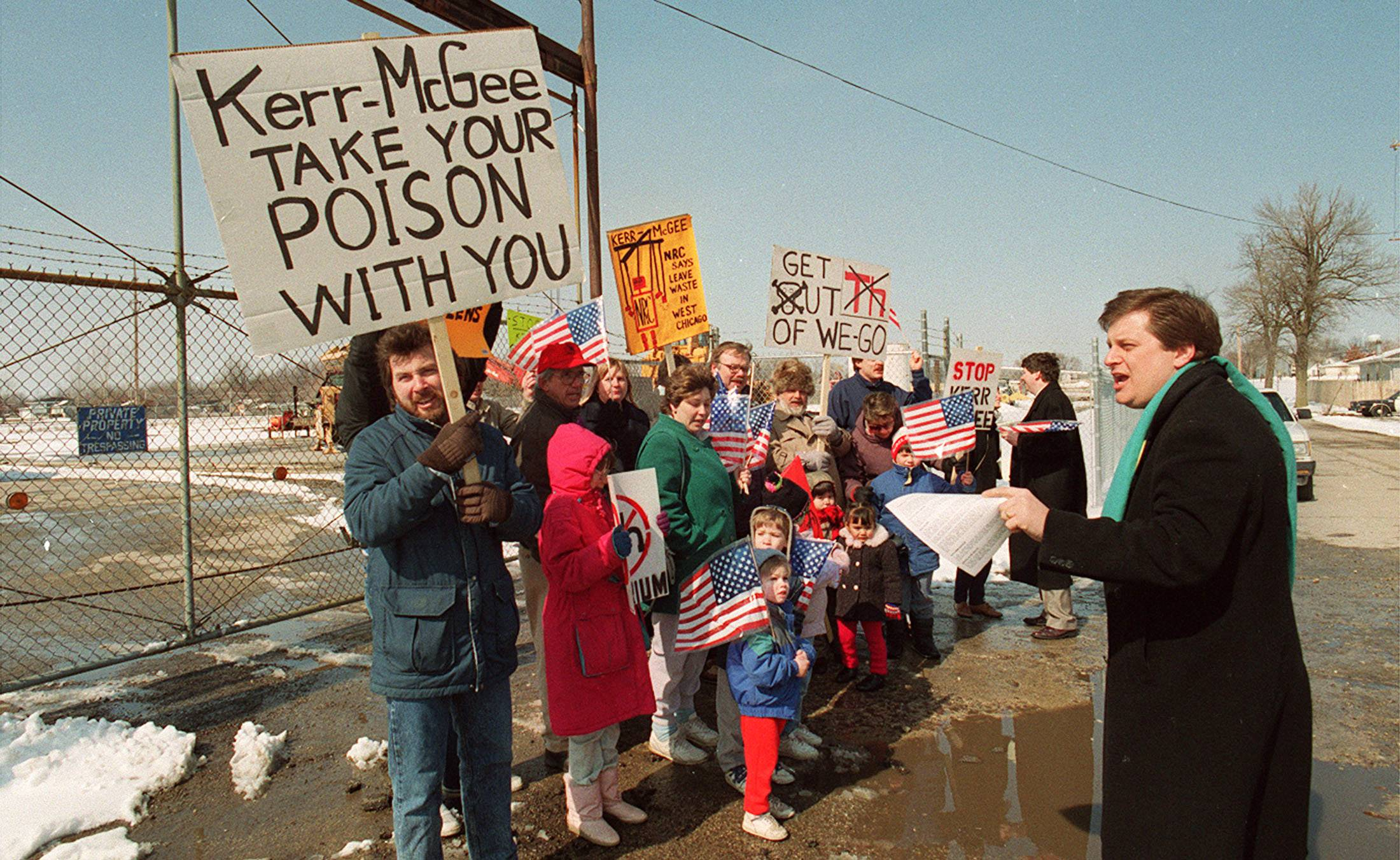 Members of the Thorium Action Group protested on March 6, 1990, at the former Kerr-McGee factory site in West Chicago, where radioactive thorium was produced. Prior to this week's $5 billion settlement, the city forged its own agreement with the federal government to ensure cleanup of the former factory site and other contaminated areas.