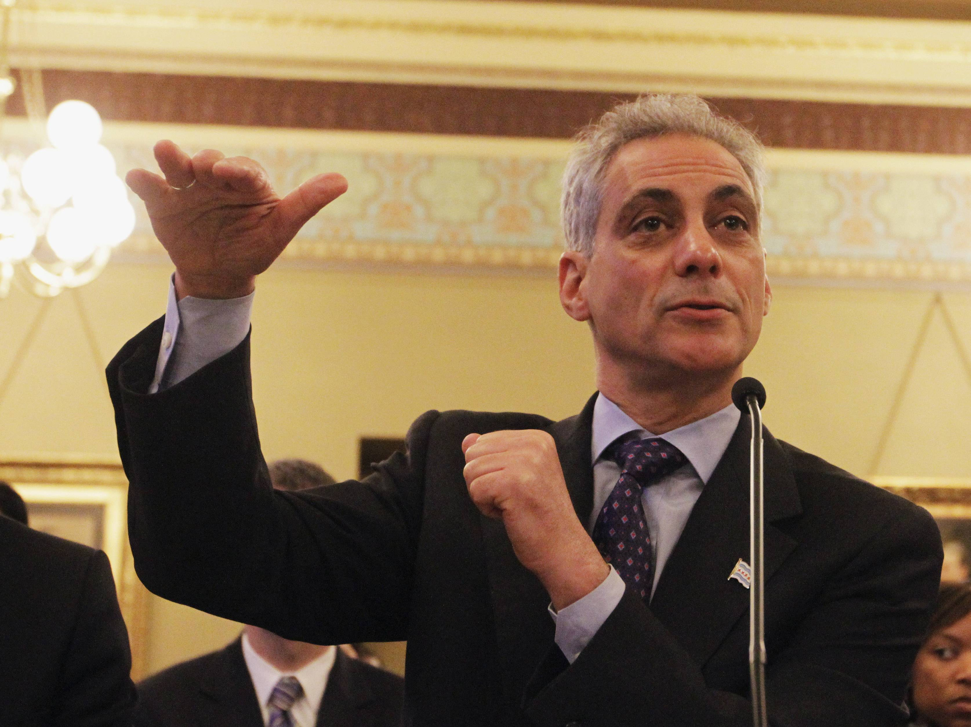 Chicago Mayor Rahm Emanuel testifies during the House Committee Hearing on Personnel and Pensions at the Capitol in Springfield.
