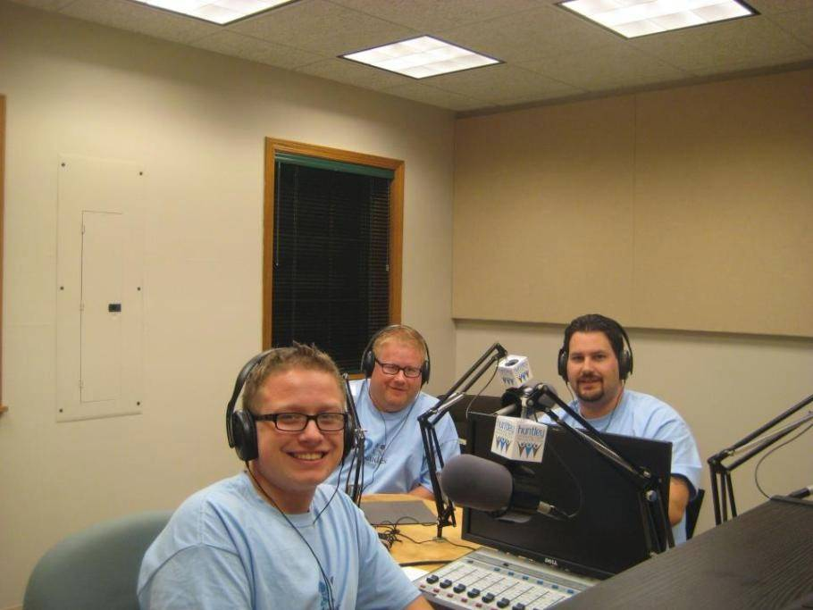 "Bill Geheren, center, and Travis Wittmeyer, right, host a Huntley Community Radio show, ""2 Dudes and a Dog,"" that streams online at 8 p.m. Monday, Wednesday and Friday. Michael Geheren, front, has worked as an executive producer."