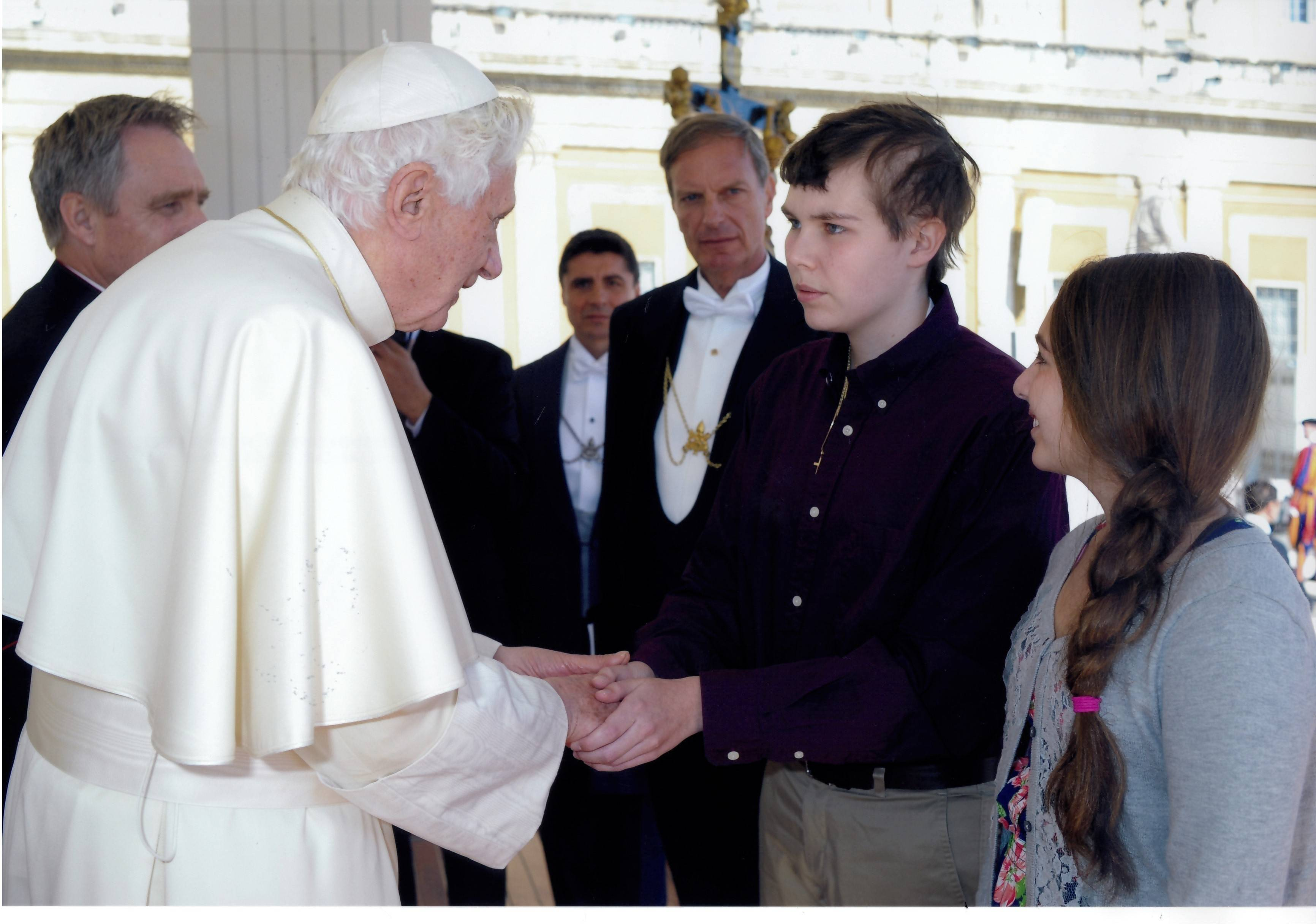 Andrew Zint is blessed by Pope Benedict on a 2011 trip to Rome with his family
