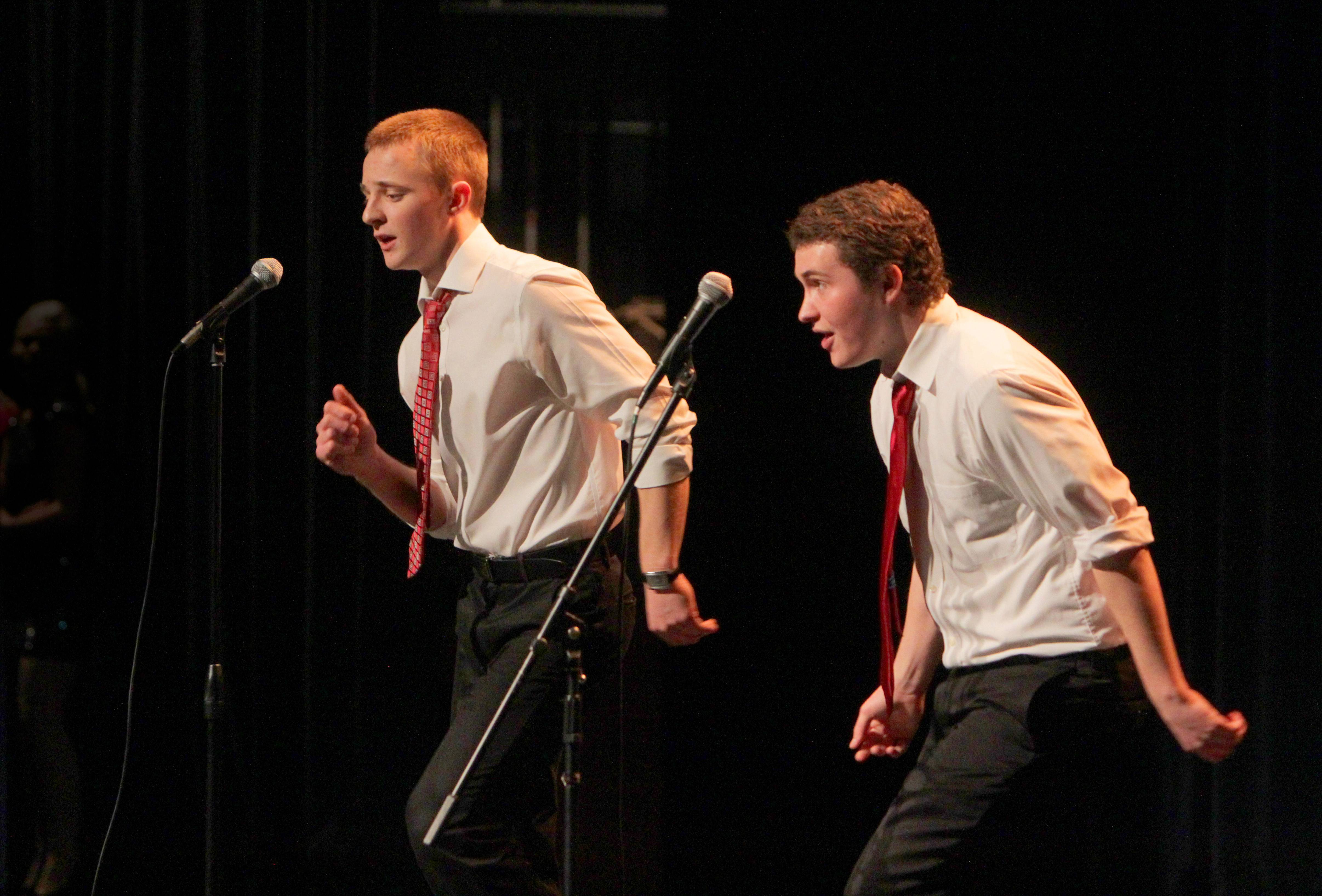 "Bartlett High School seniors Joe Butler and Mike O'Malley sing ""Run Away Baby"" in harmony at a recent talent show at the HS in Bartlett. They will be performing at the Hemmens at TalentFest 2014."