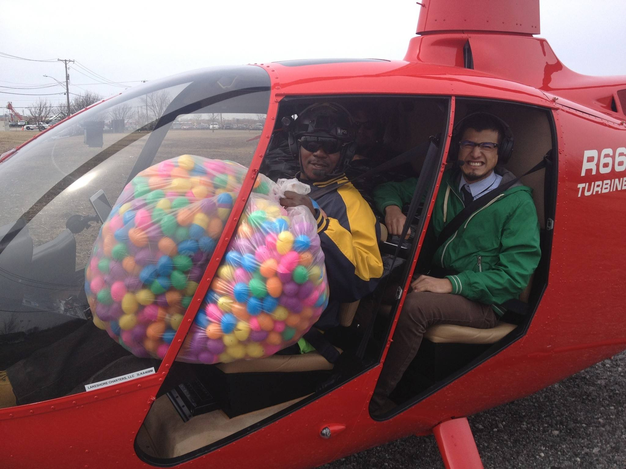 Chicago Helicopter Express will be dropping candy-filled eggs over Susanna Farms in Lake Villa.