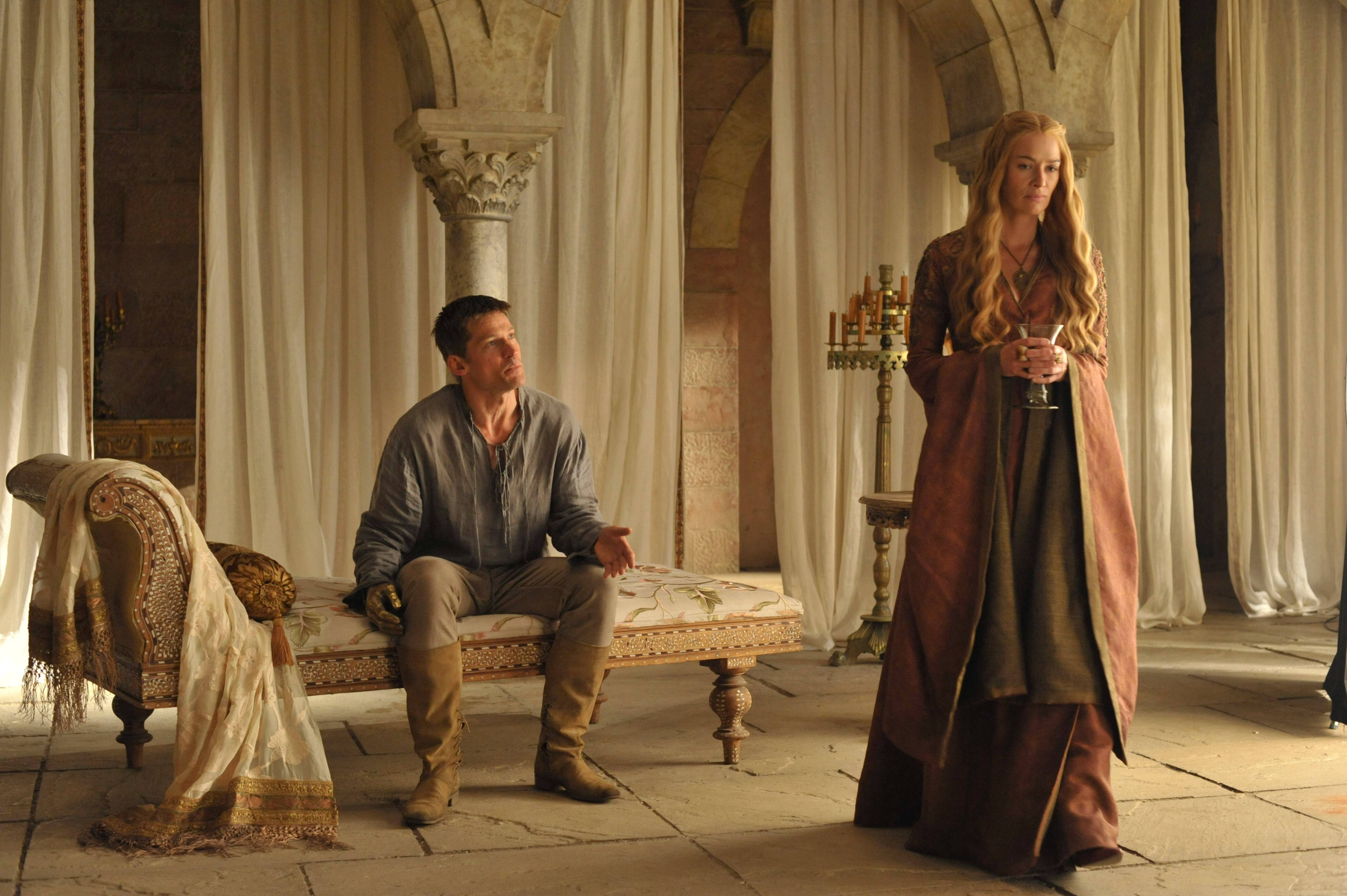 "Cersei Lannister (Lena Headey, right) reunites with brother Jaime (Nikolaj Coster-Waldau) as HBO's ""Game of Thrones"" returns for its fourth season."
