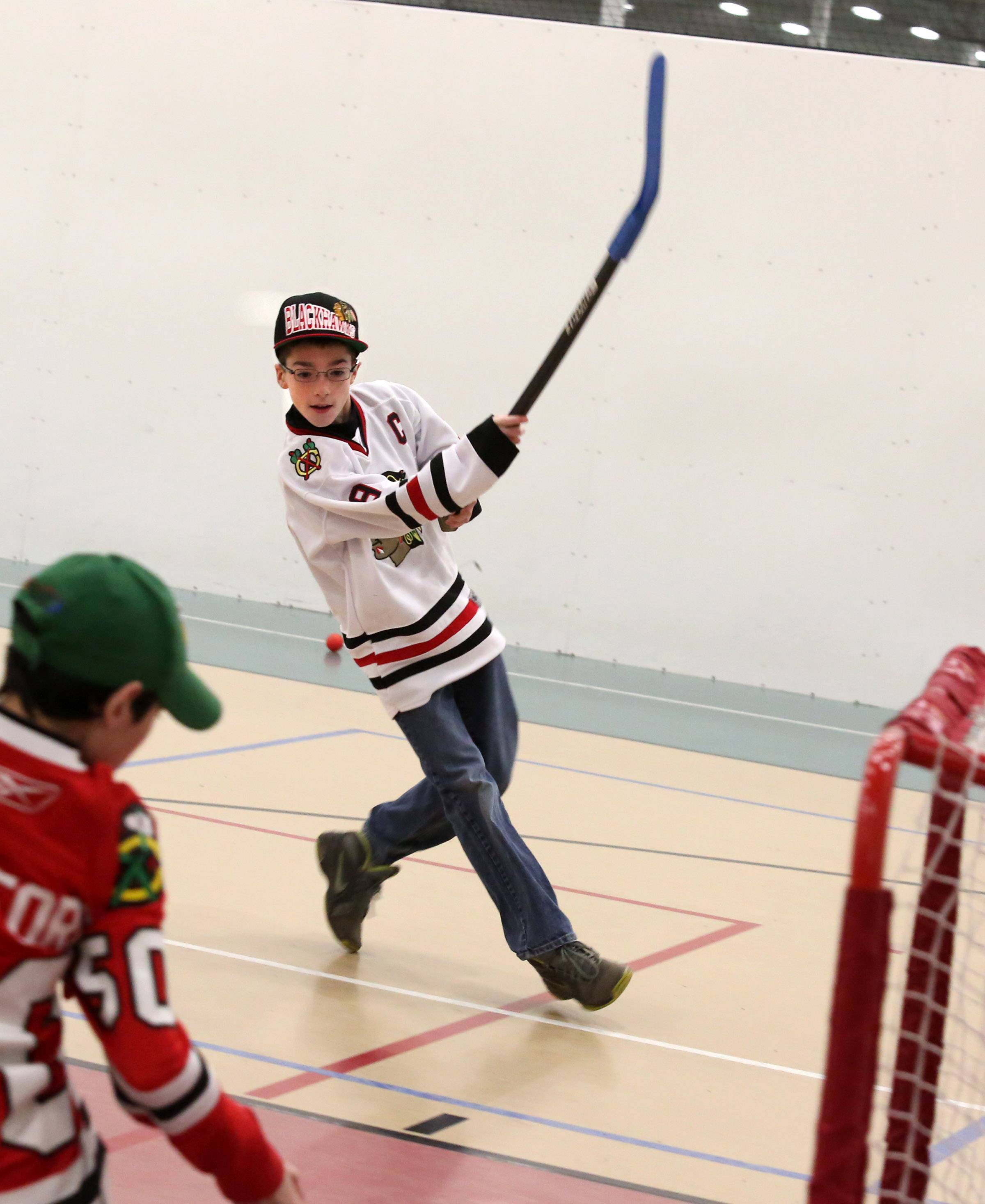 Bradley Hemmer, 11, of Lindenhurst starts his celebration after scoring a goal Friday at the Libertyville Sports Complex.